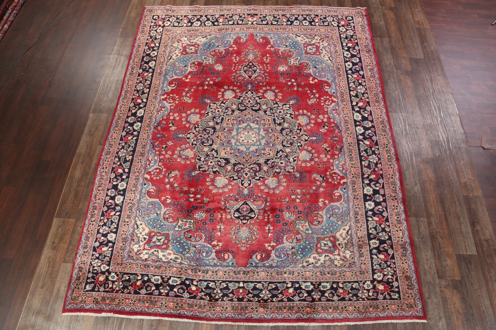 One-of-a-Kind Mashad Persian Vintage Traditional Hand-Knotted 9'8