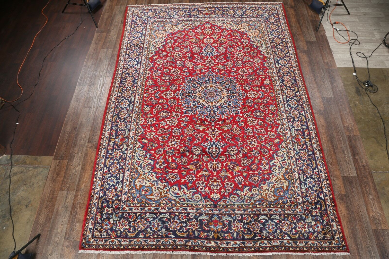One-of-a-Kind Traditional Isfahan Classical Persian Hand-Knotted 9'6