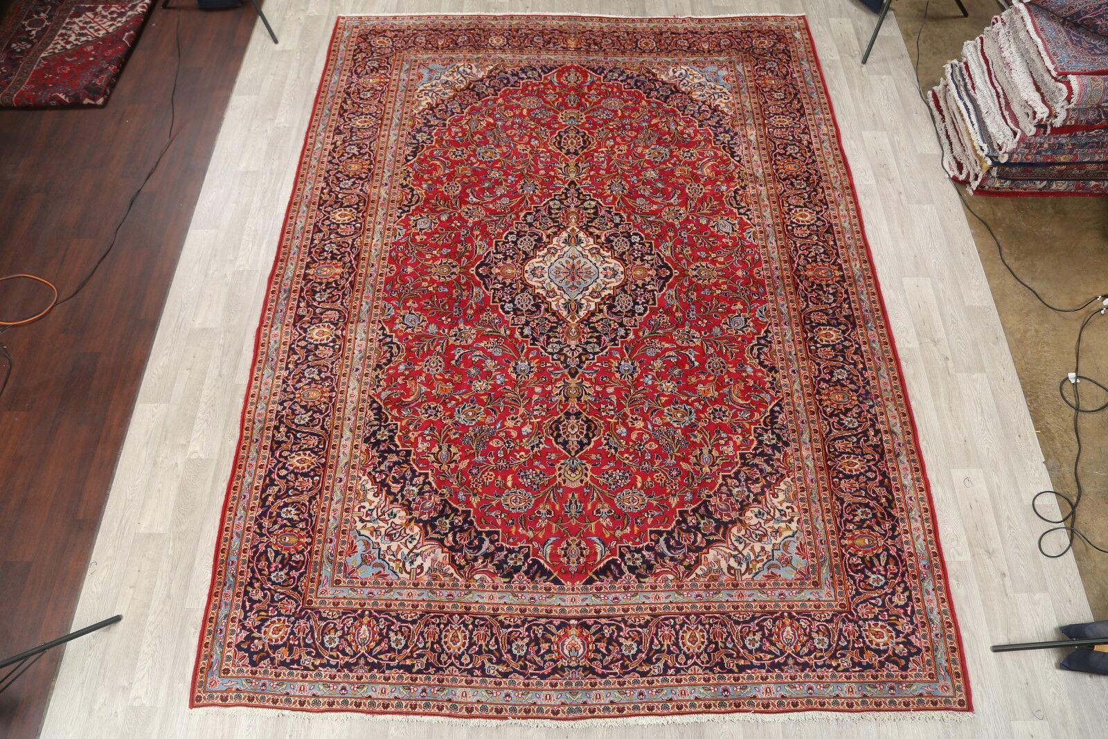 One-of-a-Kind Traditional Vintage Kashan Persian Hand-Knotted 9'2