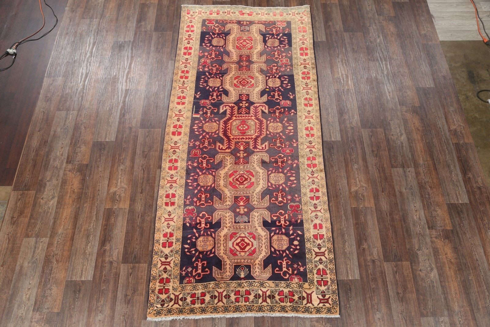 One-of-a-Kind Meshkin Geometric Persian Hand-Knotted 4'7