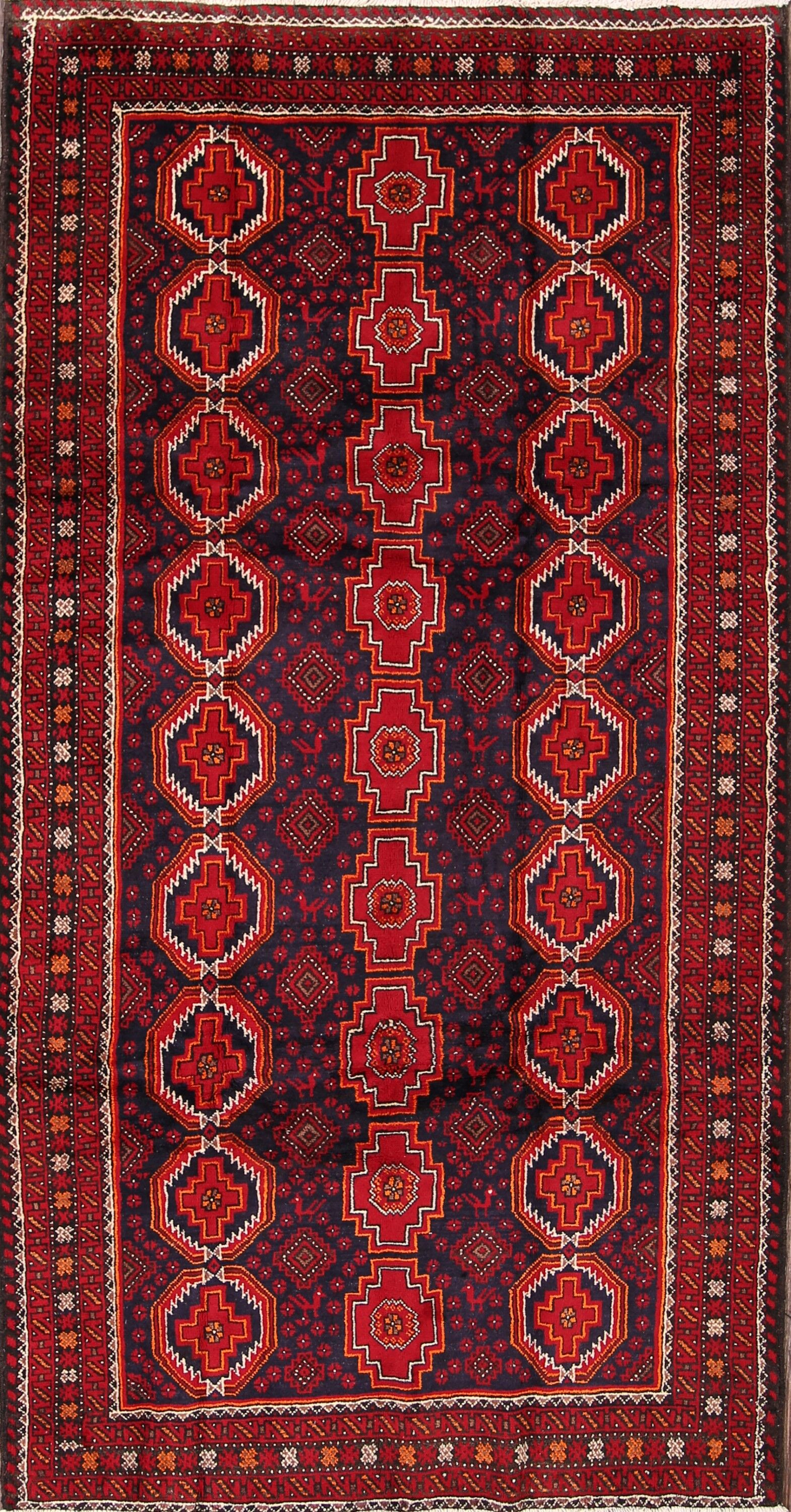 One-of-a-Kind Balouch Persian Traditional Hand-Knotted 4'6
