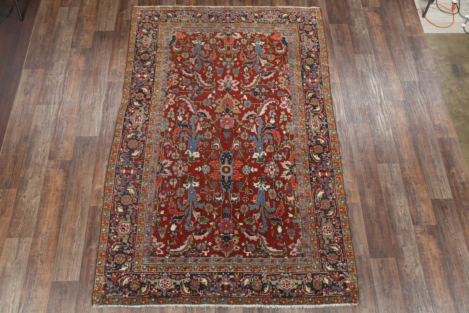 One-of-a-Kind Vintage Classical Heriz Persian Hand-Knotted 6'6