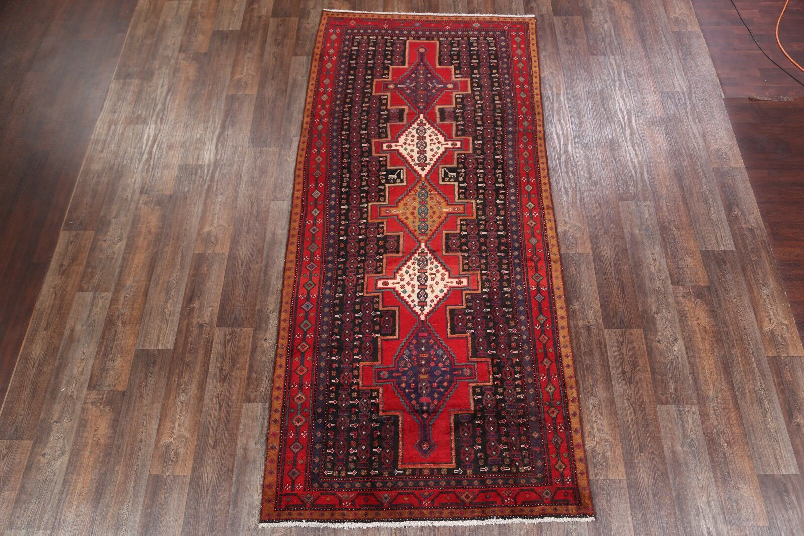One-of-a-Kind Classical Sanandaj Bidjar Persian Hand-Knotted 4'11