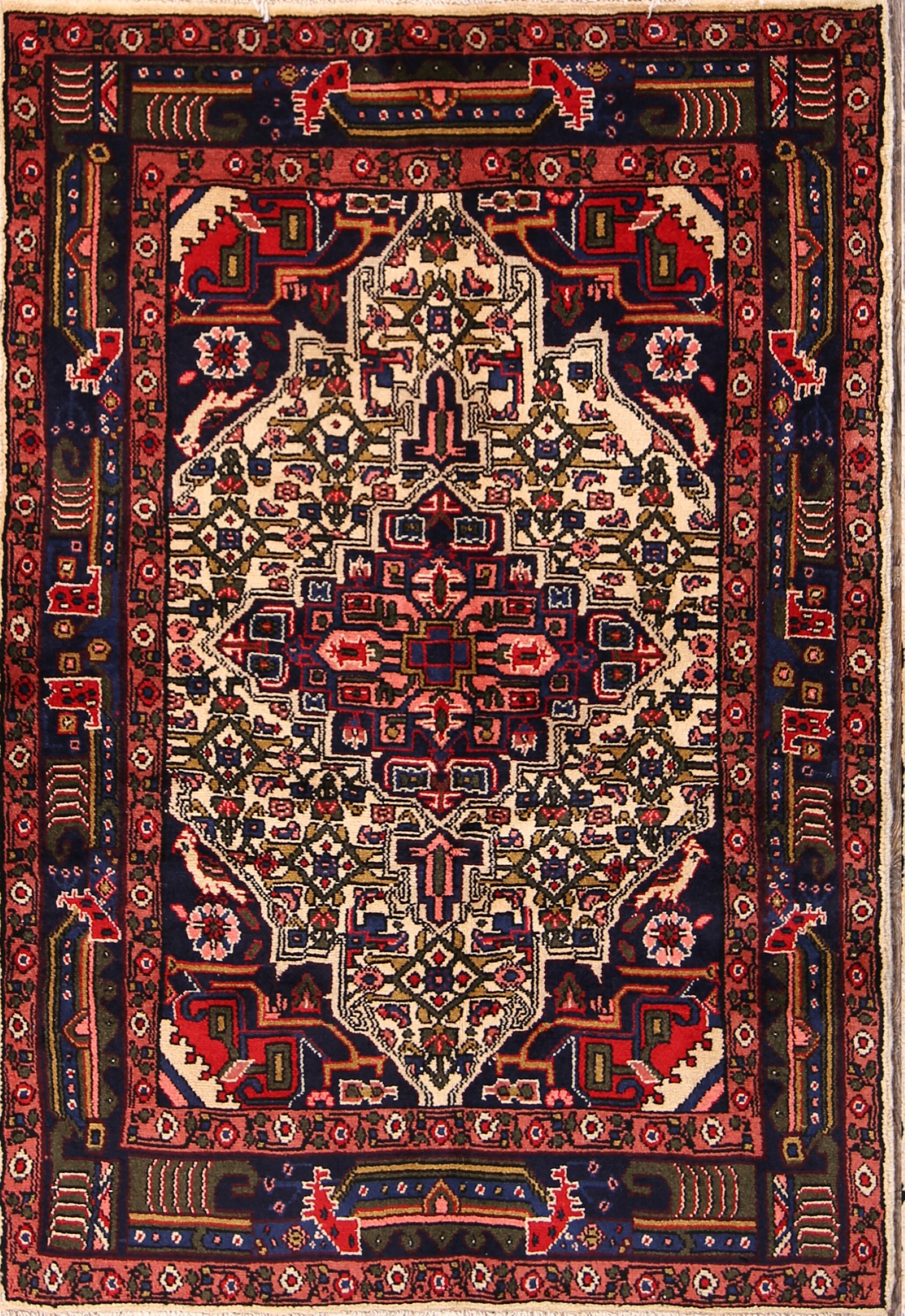 One-of-a-Kind Traditional Hamedan Persian Hand-Knotted 3'5