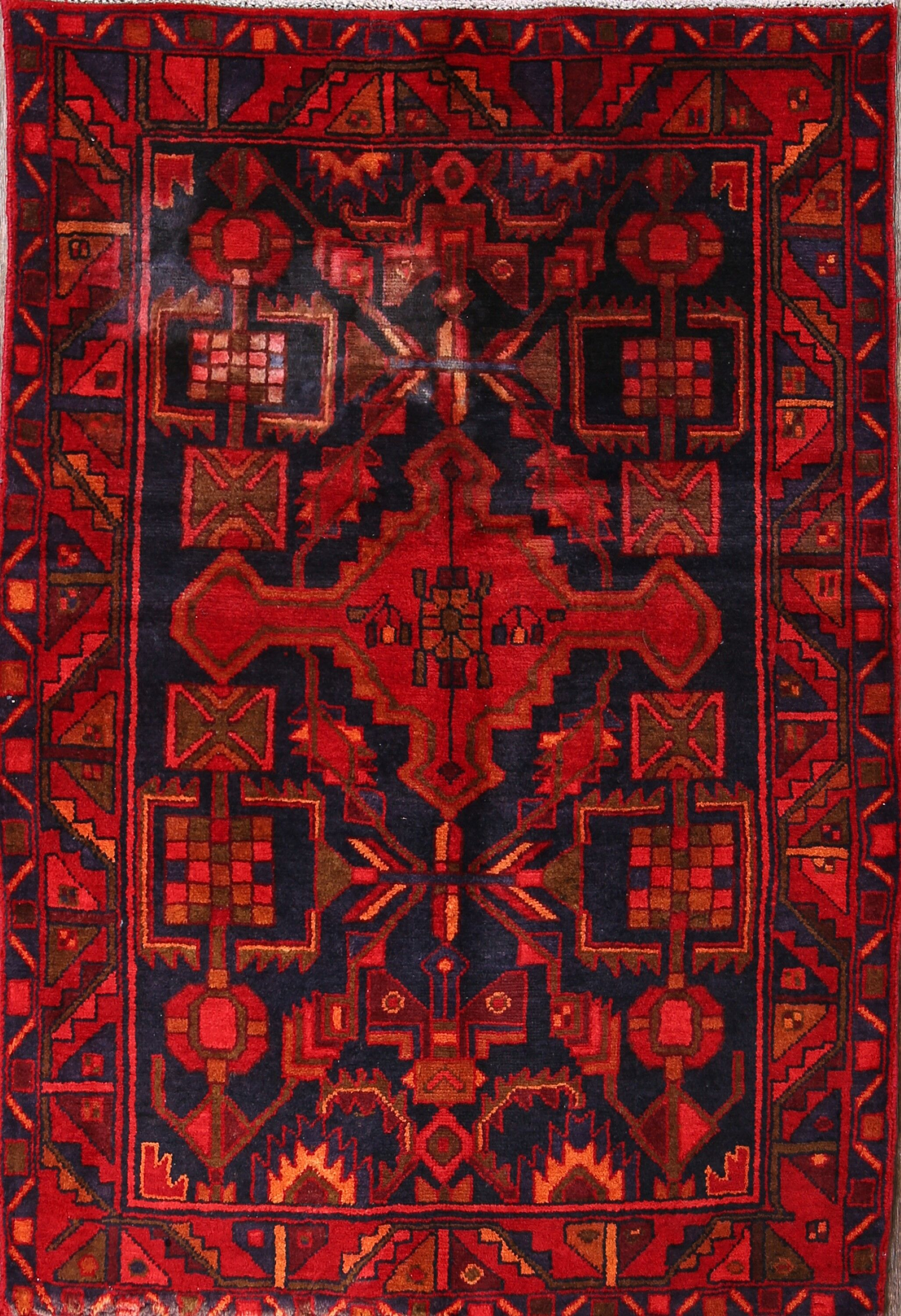 One-of-a-Kind Traditional Nahavand Hamedan Persian Hand-Knotted 3'7