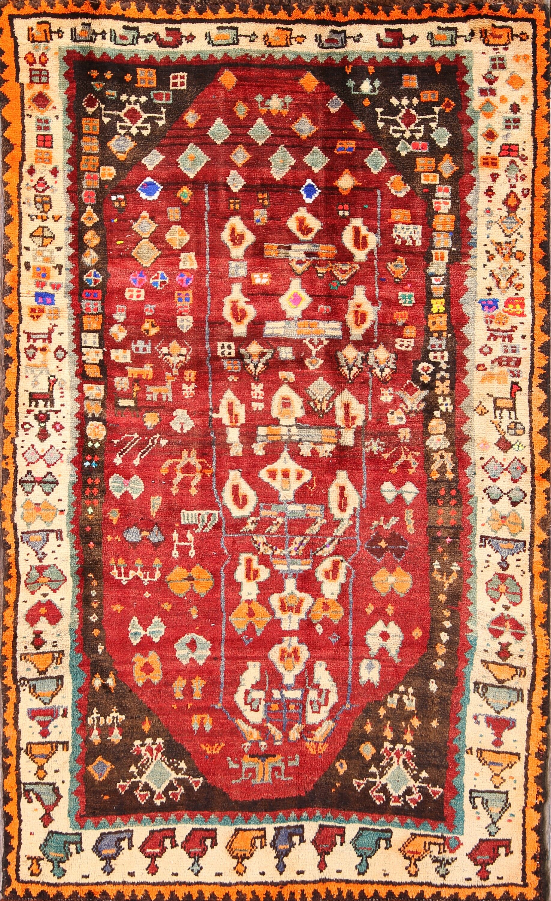 One-of-a-Kind Traditional Gabbeh Geometric Ghashghaei Persian Vintage Hand-Knotted 3'9