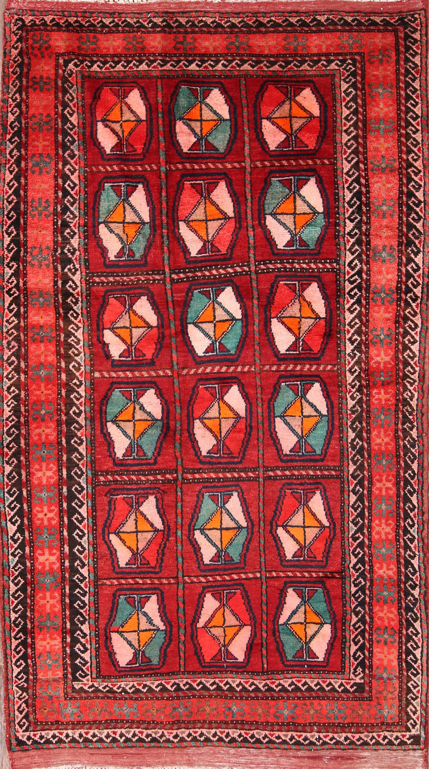 One-of-a-Kind Traditional Balouch Persian Hand-Knotted 4'2