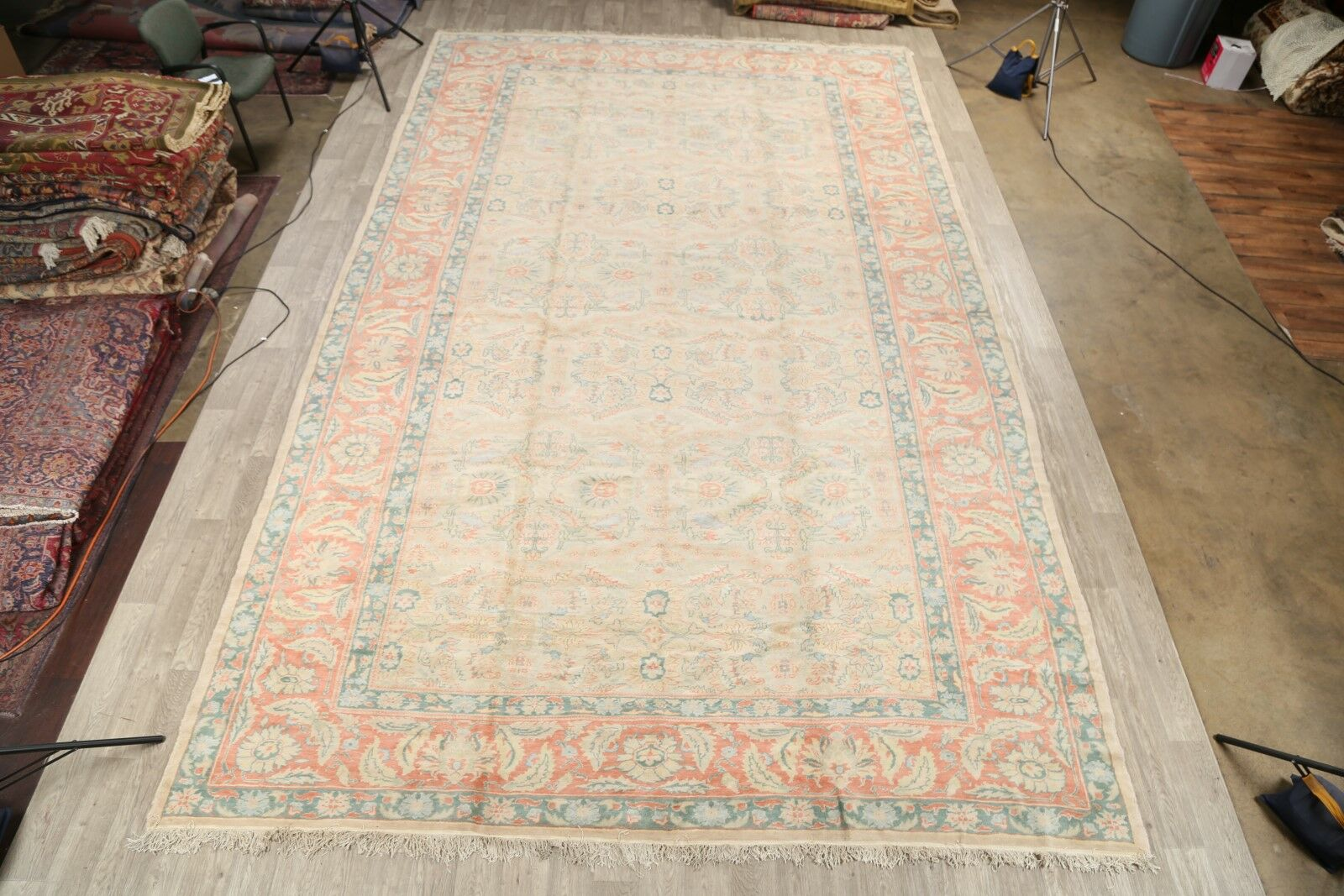 Eragny Oushak Oriental Egypt Hand-Knotted Wool Beige/Red Area Rug