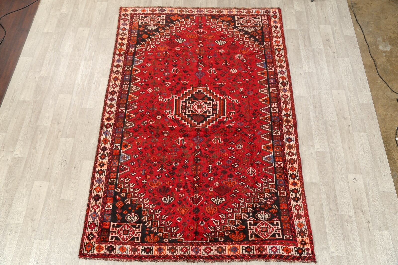 One-of-a-Kind Shiraz Persian Vintage Classical Hand-Knotted 6'8