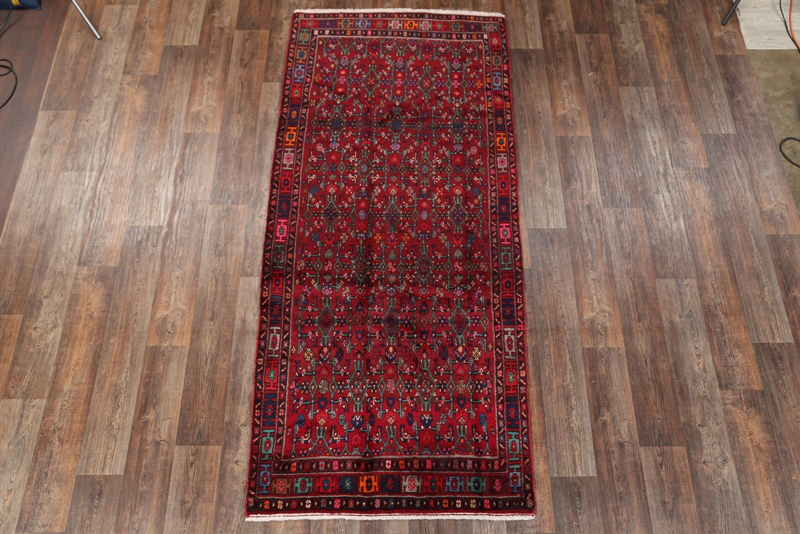One-of-a-Kind Traditional Hamedan Persian Geometric Hand-Knotted 4'2