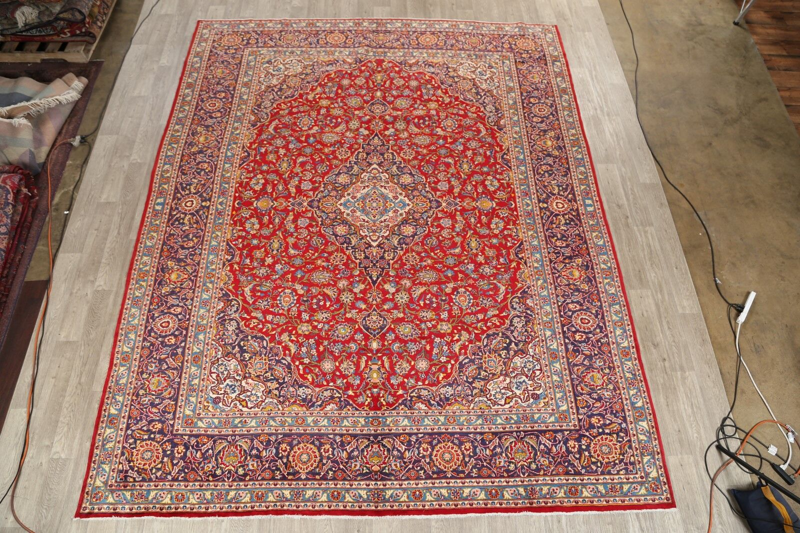 One-of-a-Kind Kashan Persian Traditional Vintage Hand-Knotted 10' x 12'7