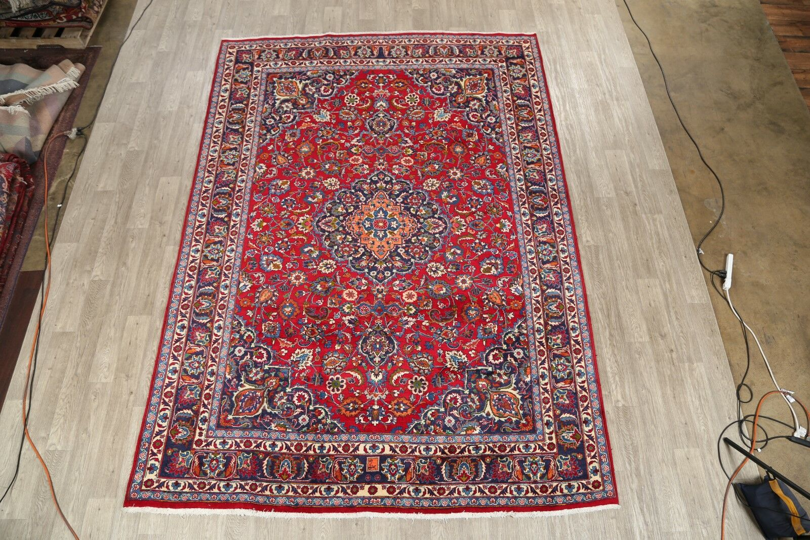 One-of-a-Kind Medallion Mashad Classical Vintage Persian Hand-Knotted 8'1