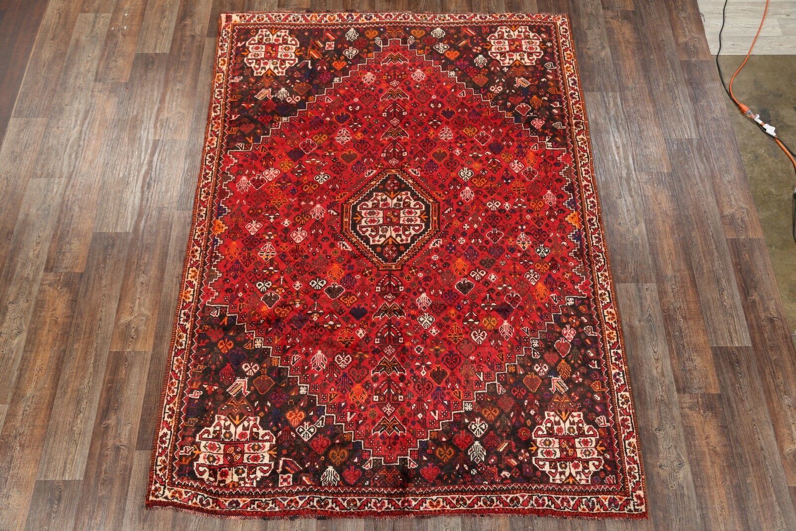 One-of-a-Kind Ghashghaie Shiraz Vintage Persian Traditional Hand-Knotted 6'10