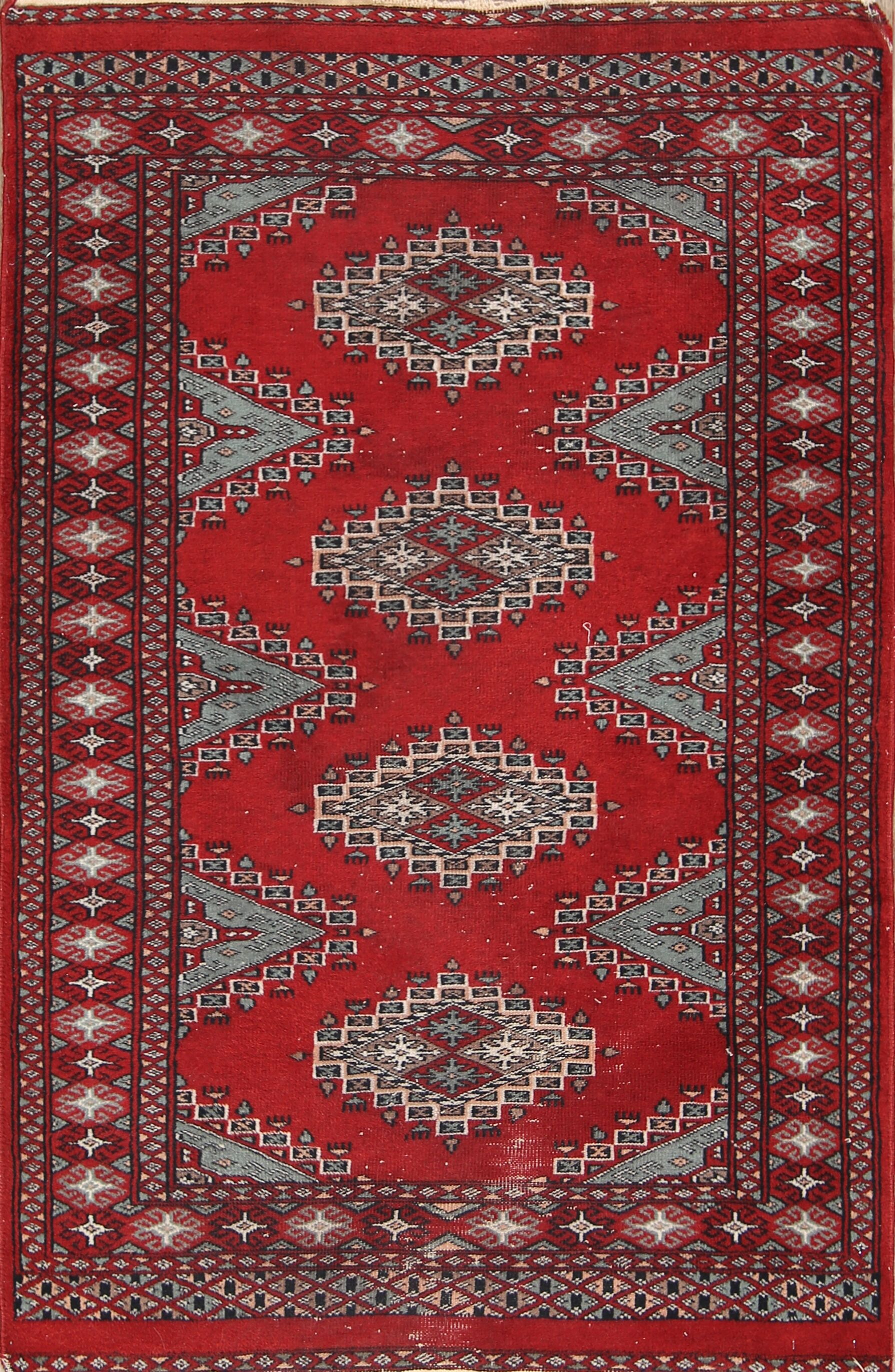 Eres Bokhara Oriental Hand-Knotted Wool Red/Burgundy Area Rug