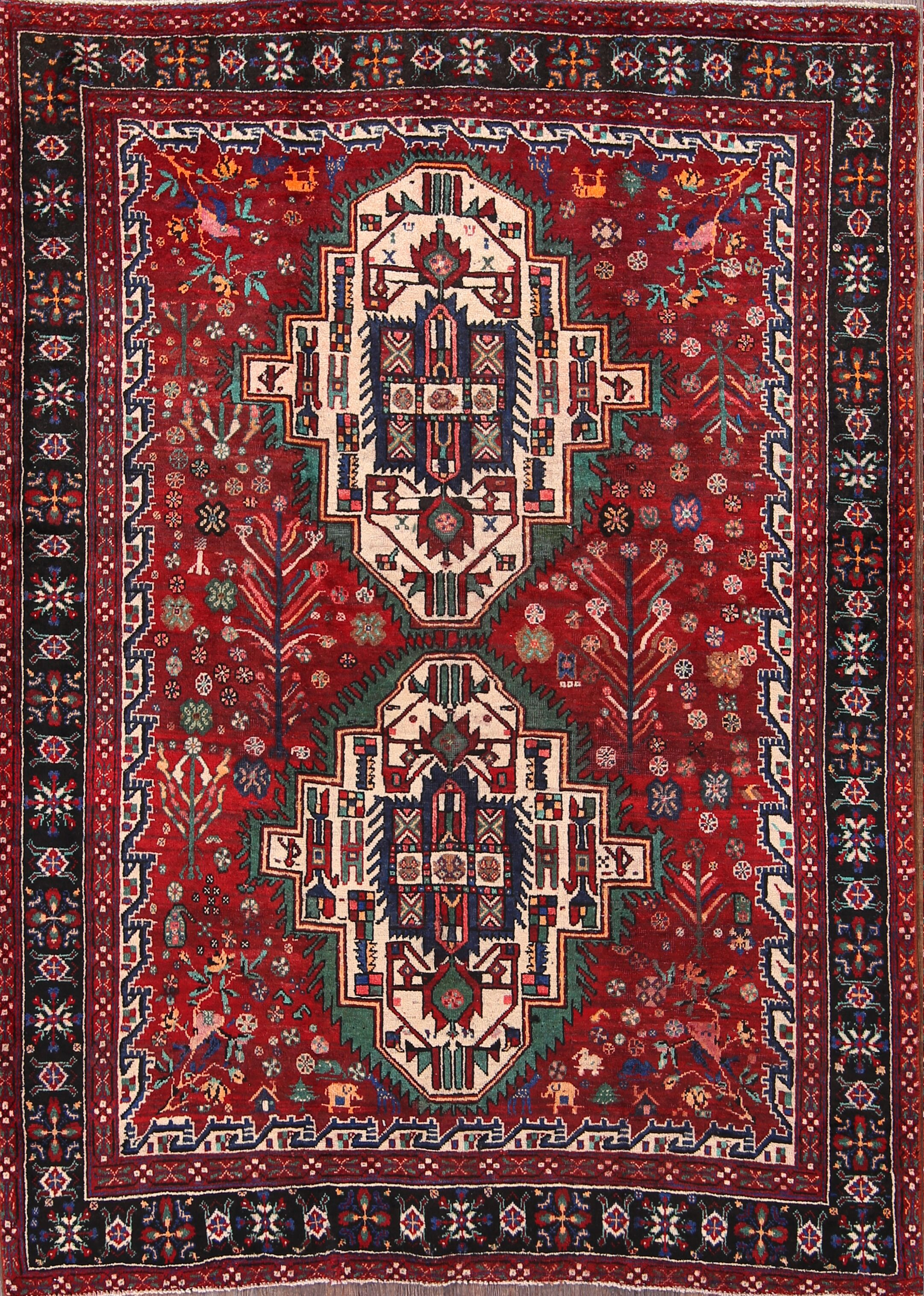One-of-a-Kind Afshar Traditional Persian Hand-Knotted 5'2