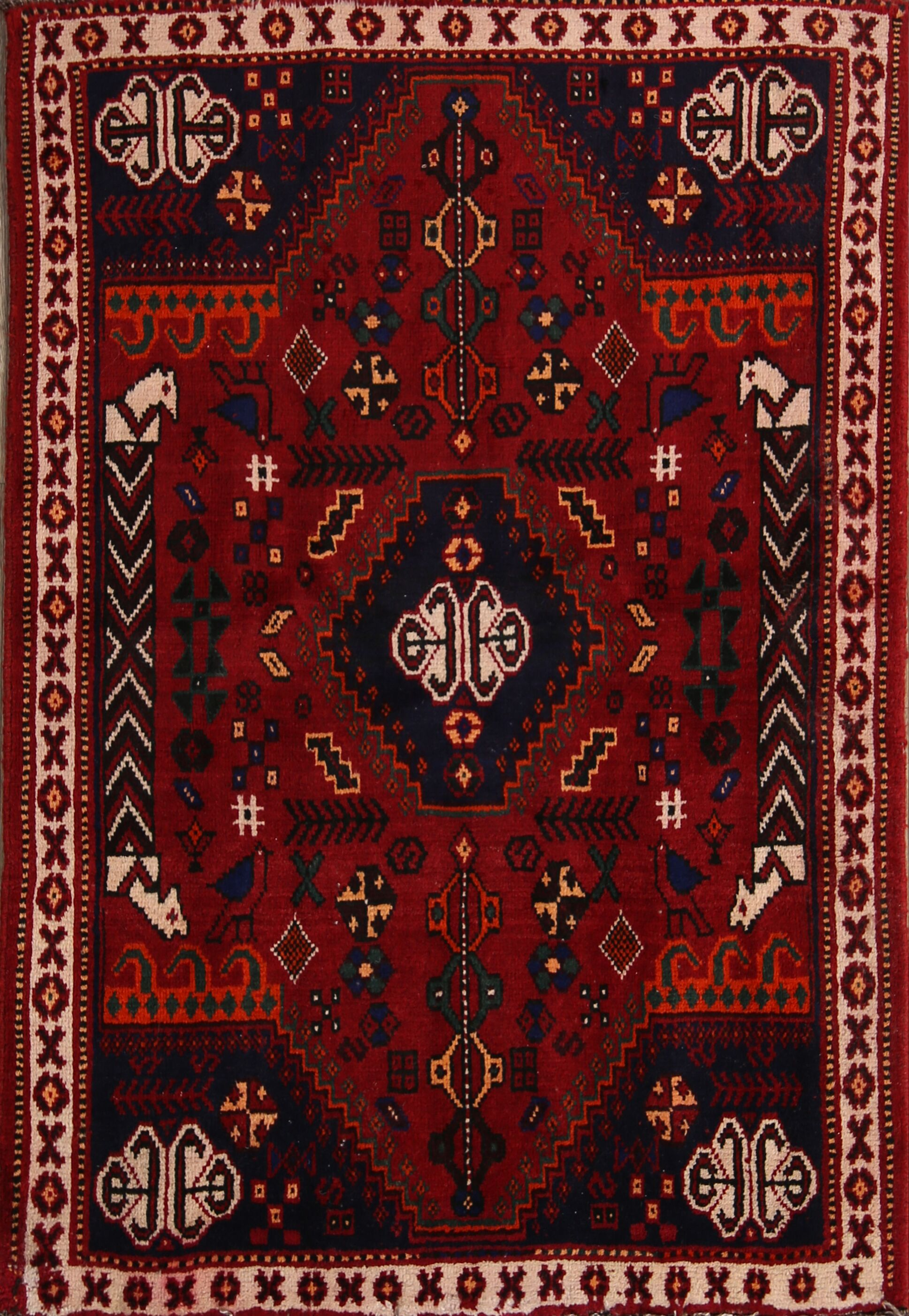 One-of-a-Kind Traditional Shiraz Persian Hand-Knotted 3'3