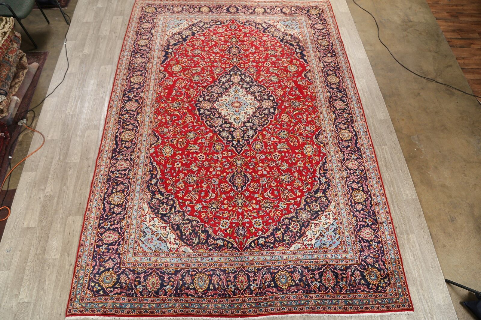 One-of-a-Kind Vintage Medallion Kashan Persian Hand-Knotted 9'8