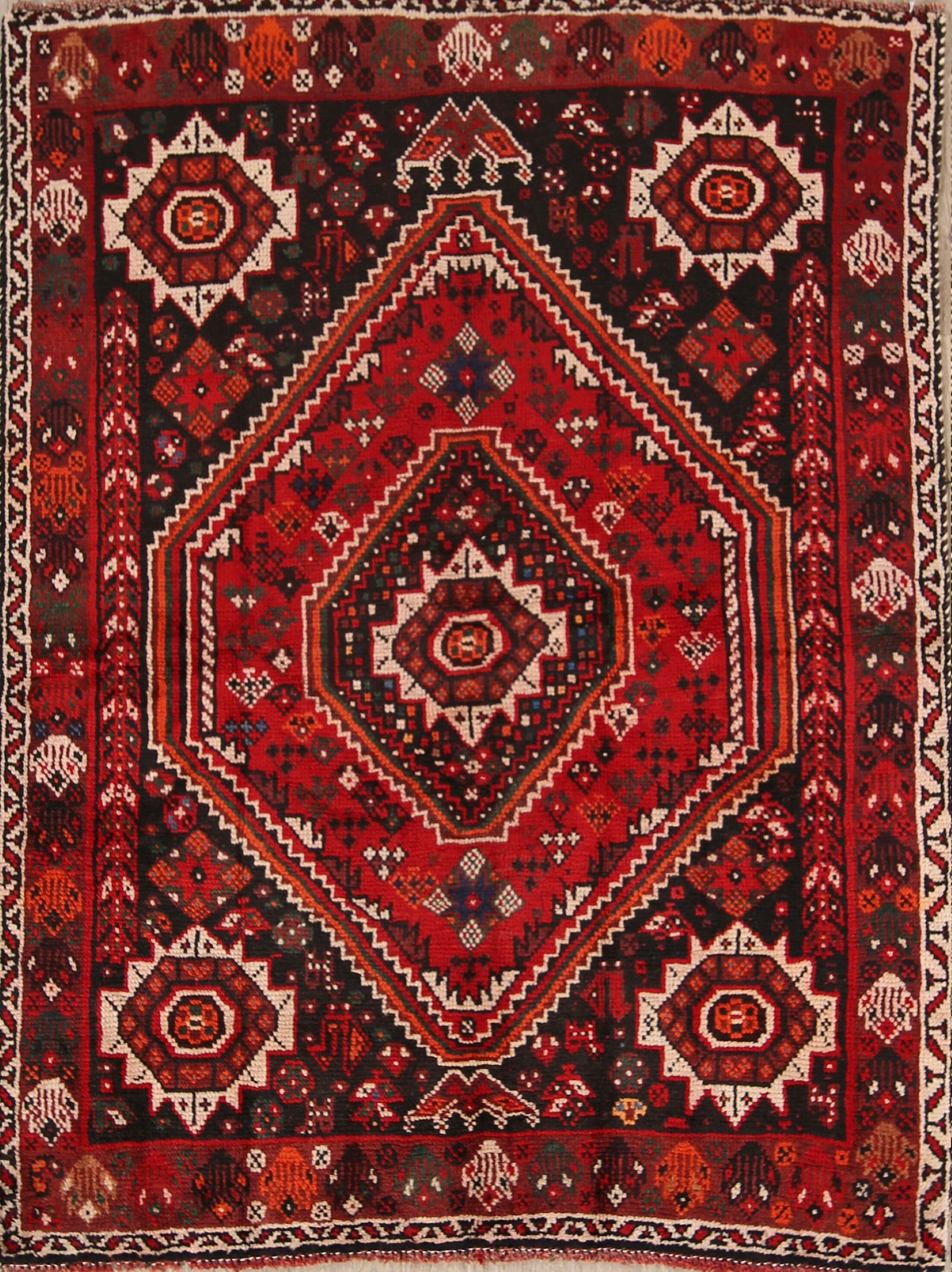 One-of-a-Kind Traditional Shiraz Persian Hand-Knotted 3'11