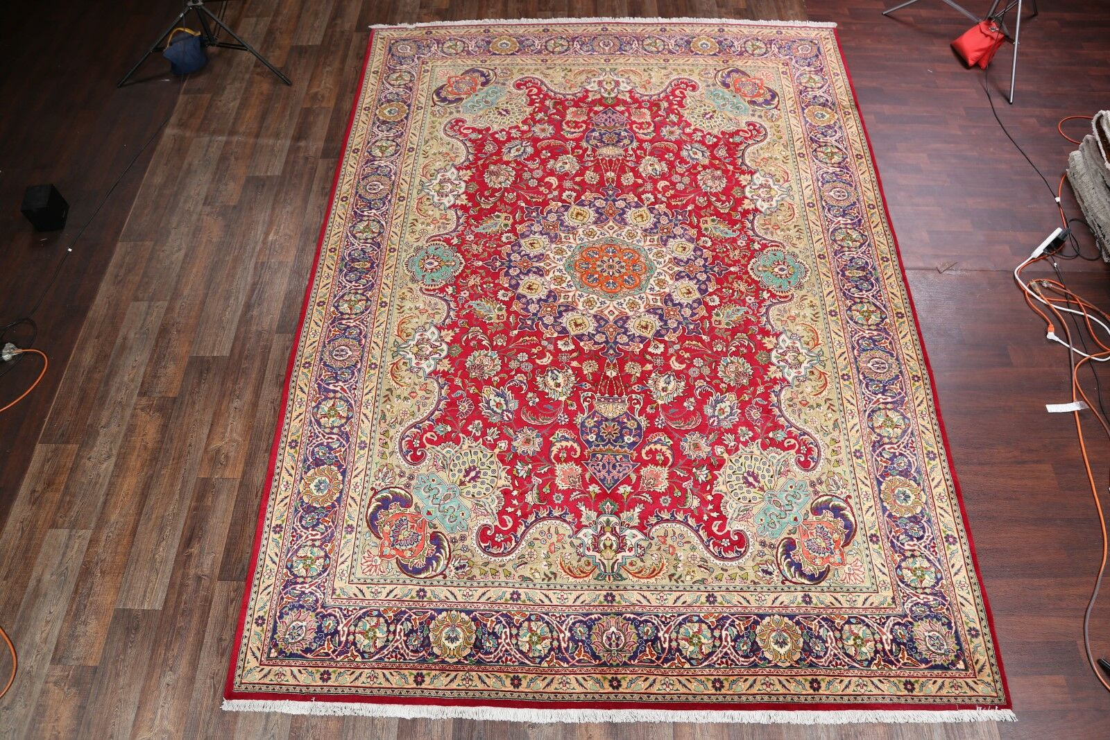 One-of-a-Kind Tabriz Traditional Persian Hand-Knotted 9'1
