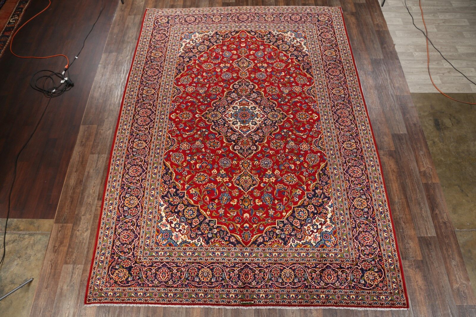 One-of-a-Kind Kashan Persian Vintage Hand-Knotted 9'8