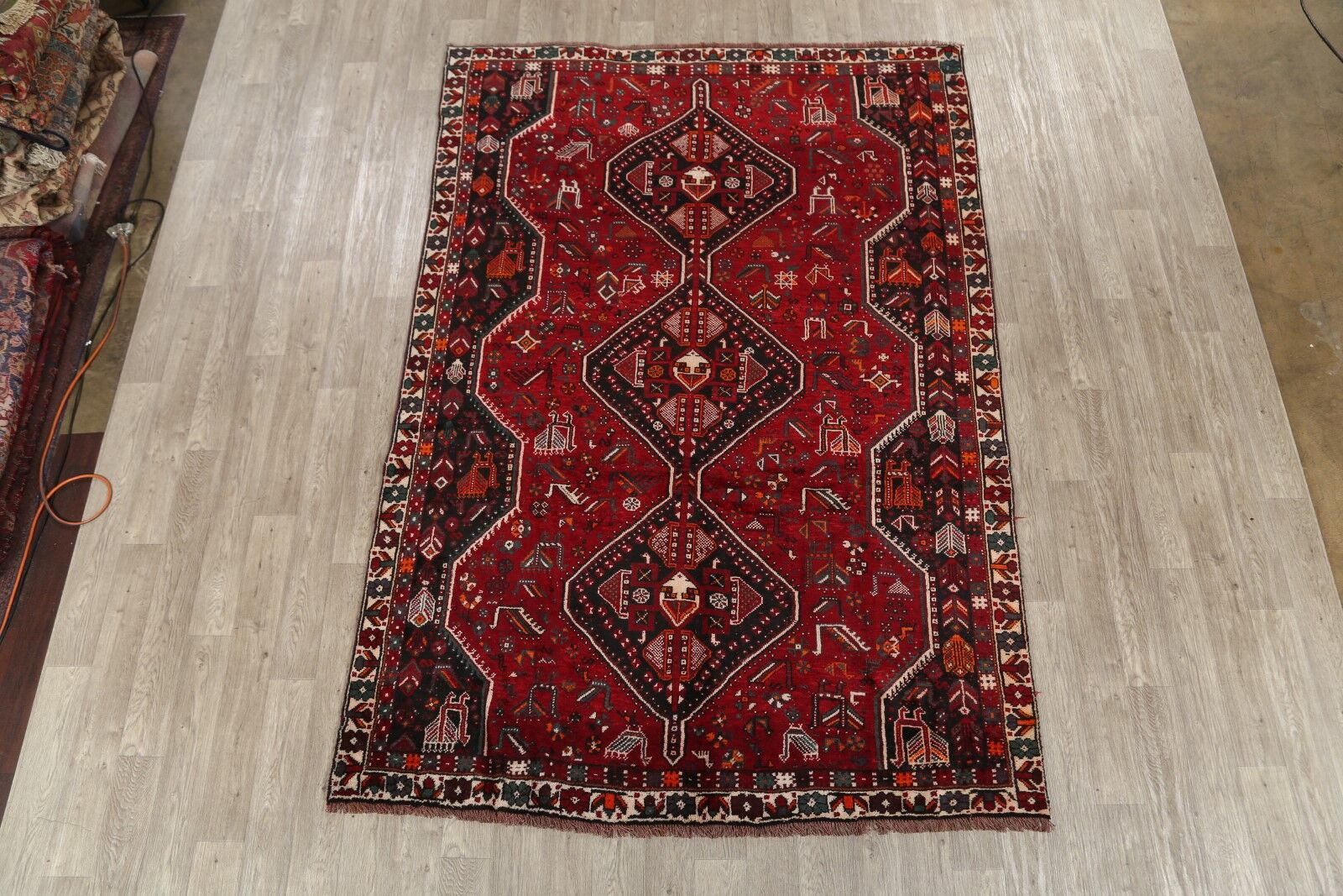 One-of-a-Kind Geometric Shiraz Persian Hand-Knotted 6'8