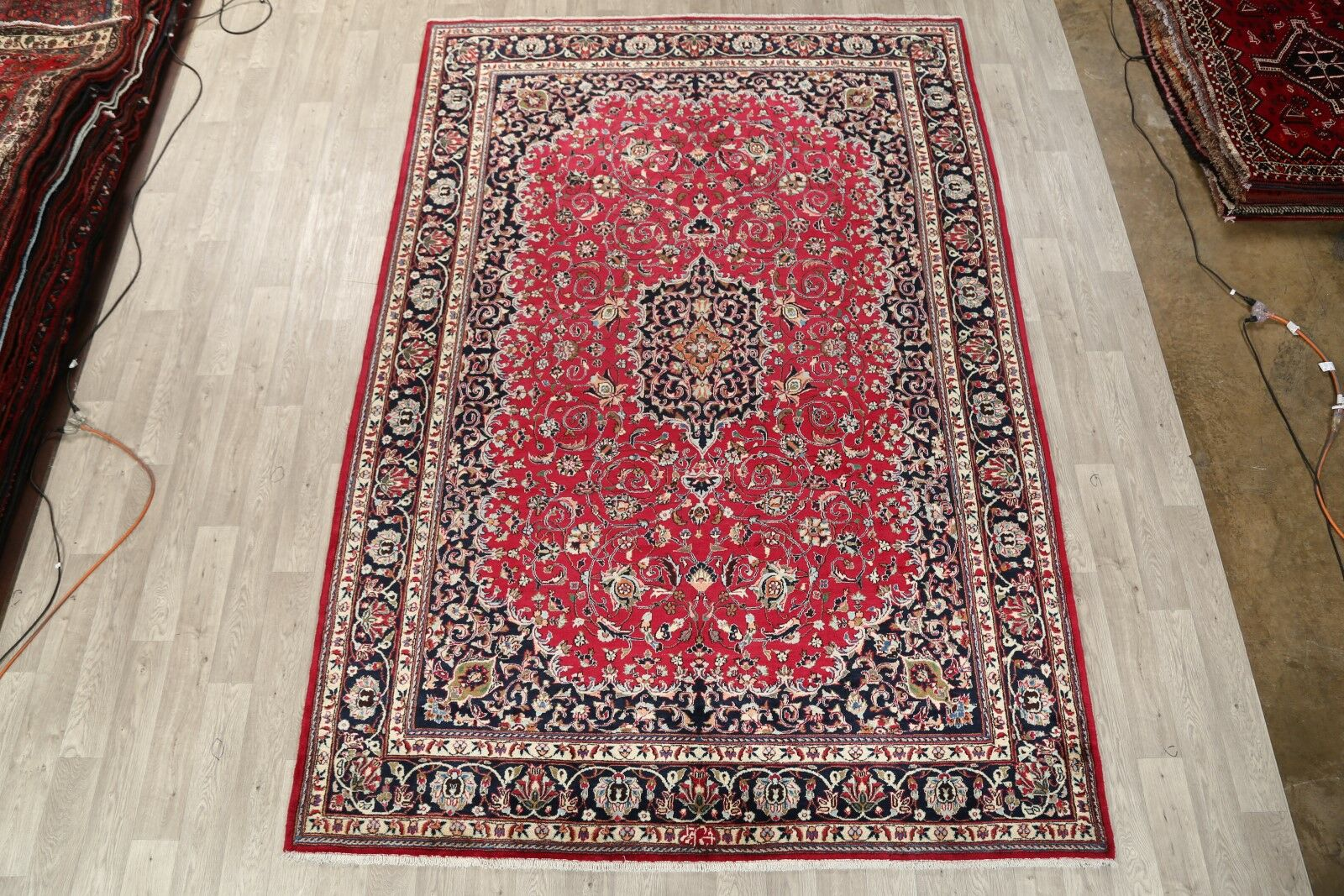 One-of-a-Kind Vintage Traditional Mashad Persian Hand-Knotted 8' x 11'8