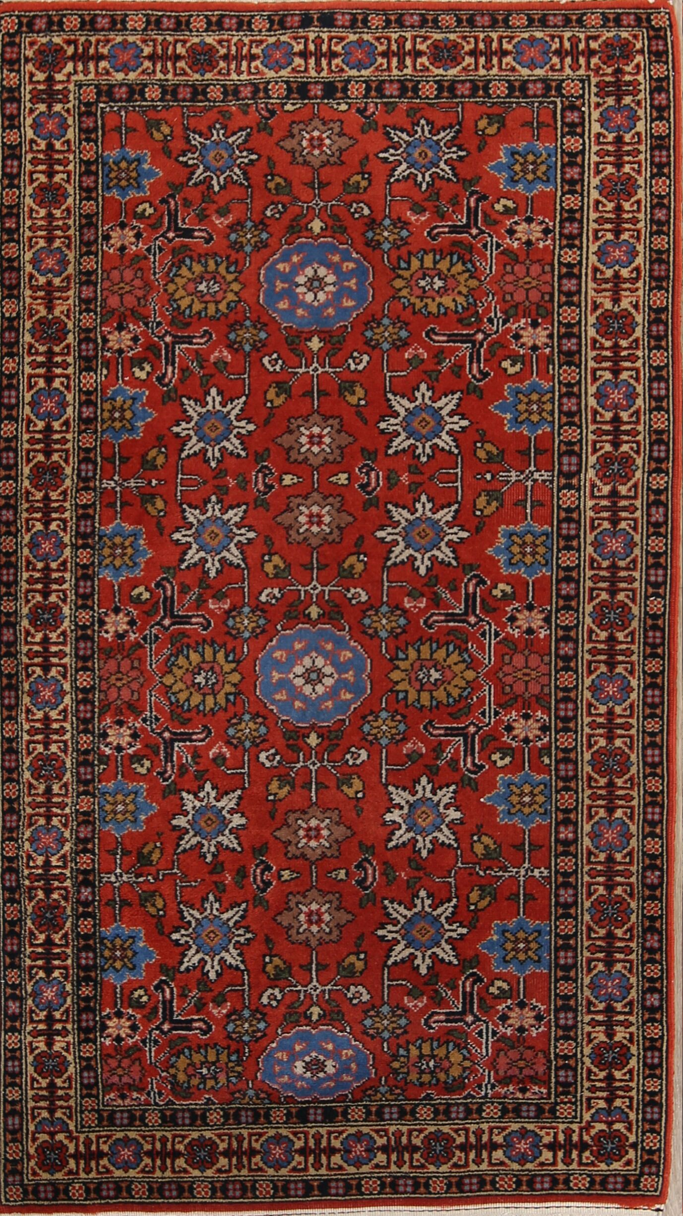 Nathen Tabriz Anatolian Hand-Knotted Wool Red/Burgundy Area Rug
