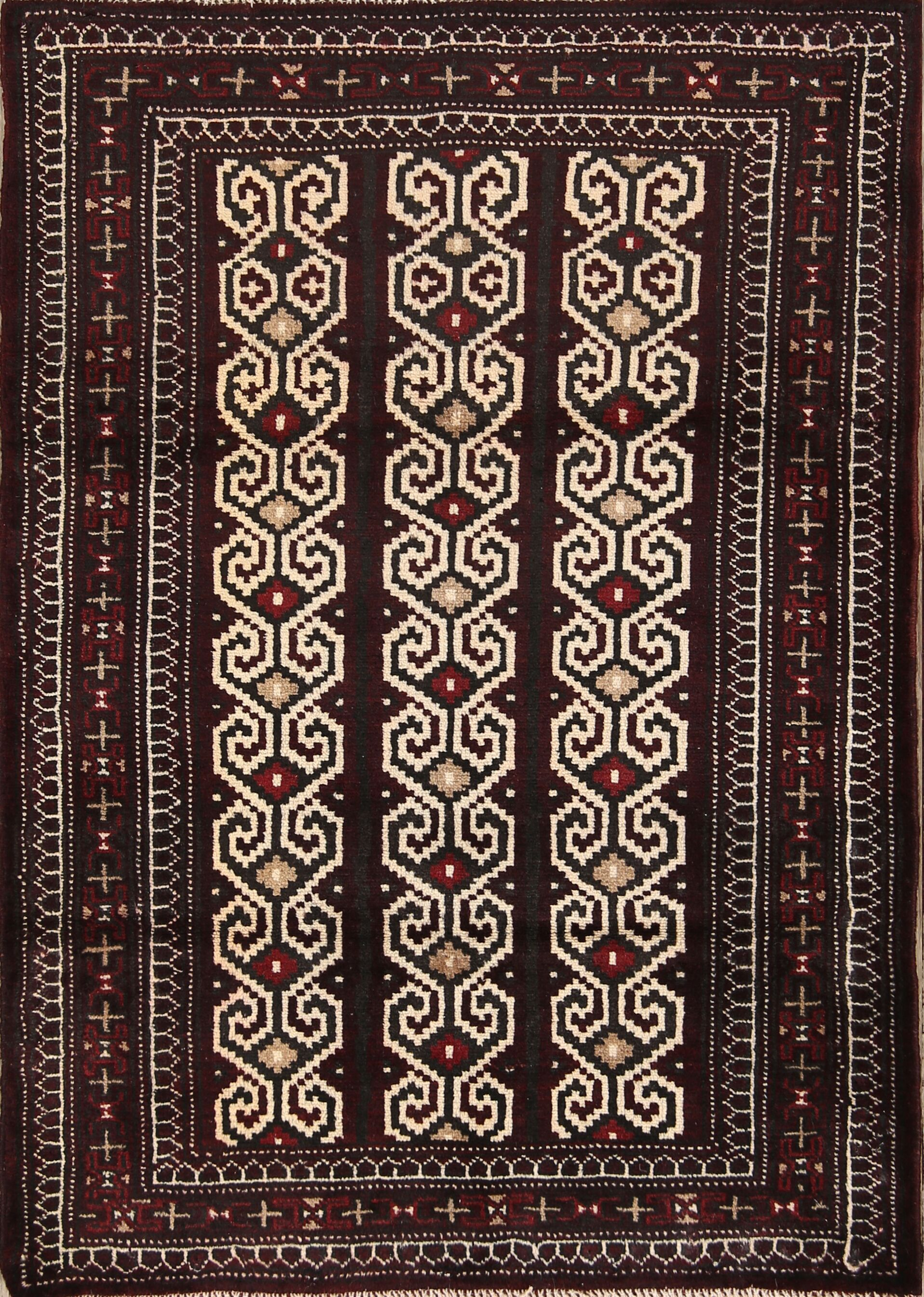 One-of-a-Kind Balouch Turkoman Persian Geometric Hand-Knotted 2'8