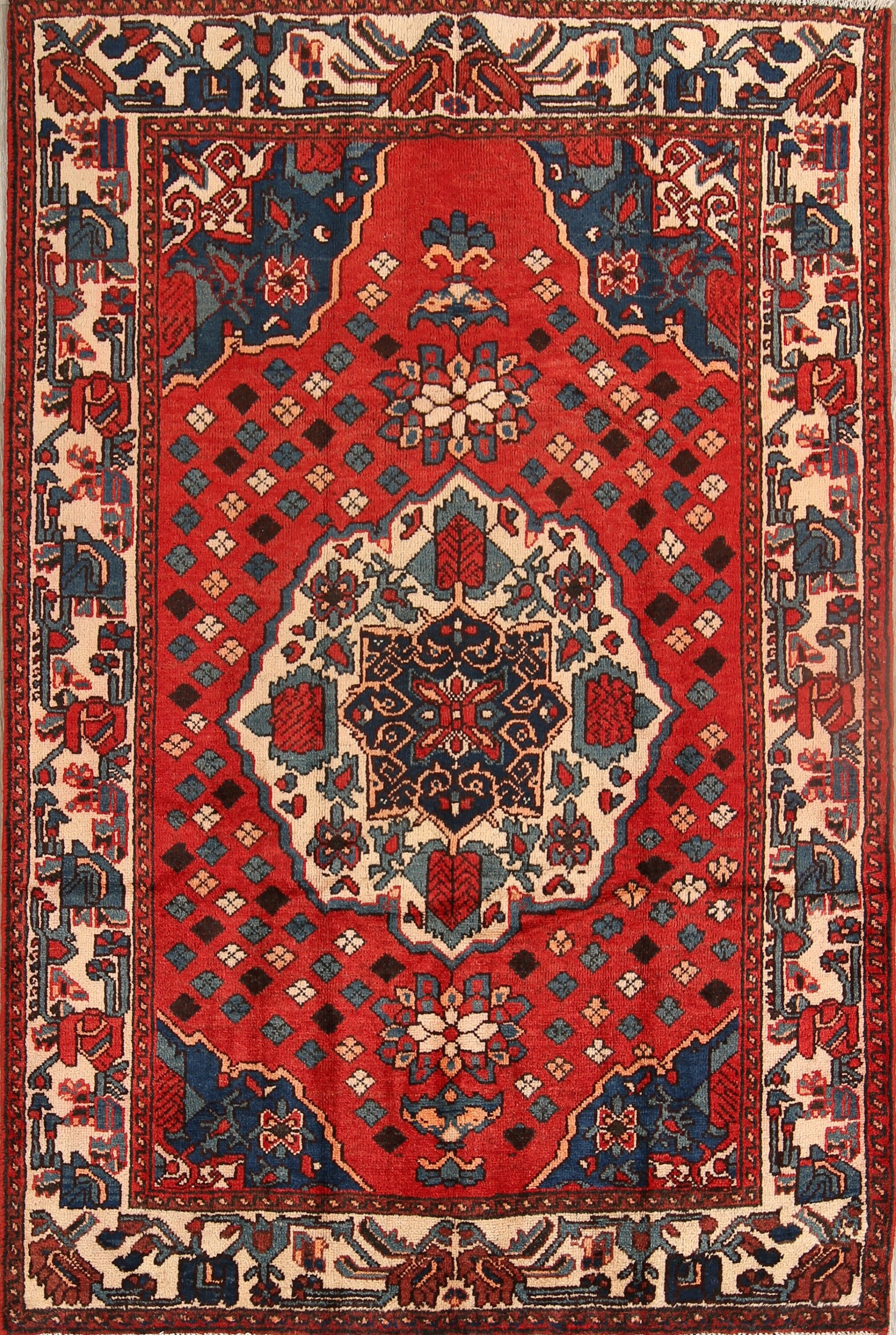 One-of-a-Kind Frederickson Bakhtiari Vintage Persian Hand-Knotted 4'5
