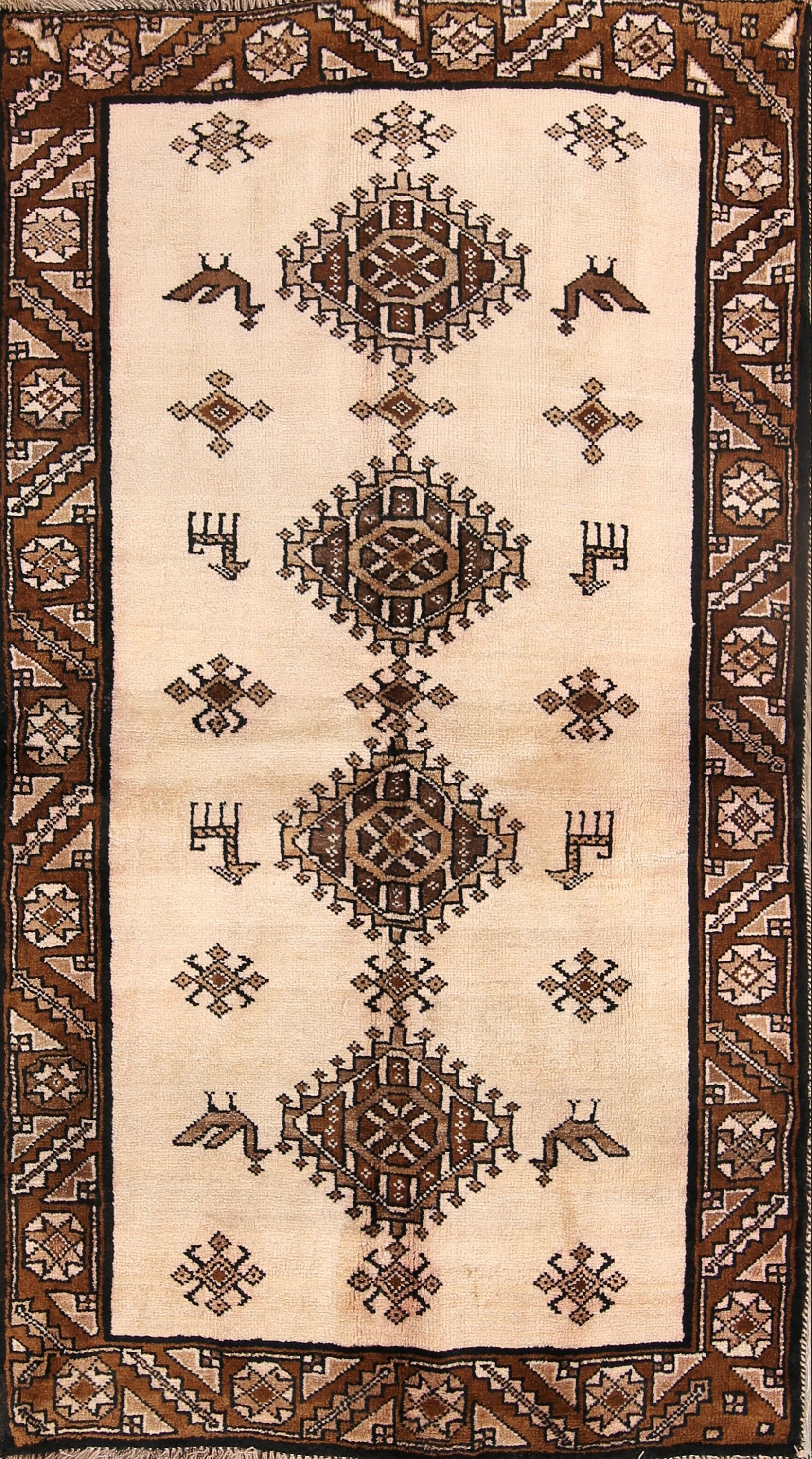 One-of-a-Kind Moreira Gabbeh Shiraz Persian Modern Hand-Knotted 3'6