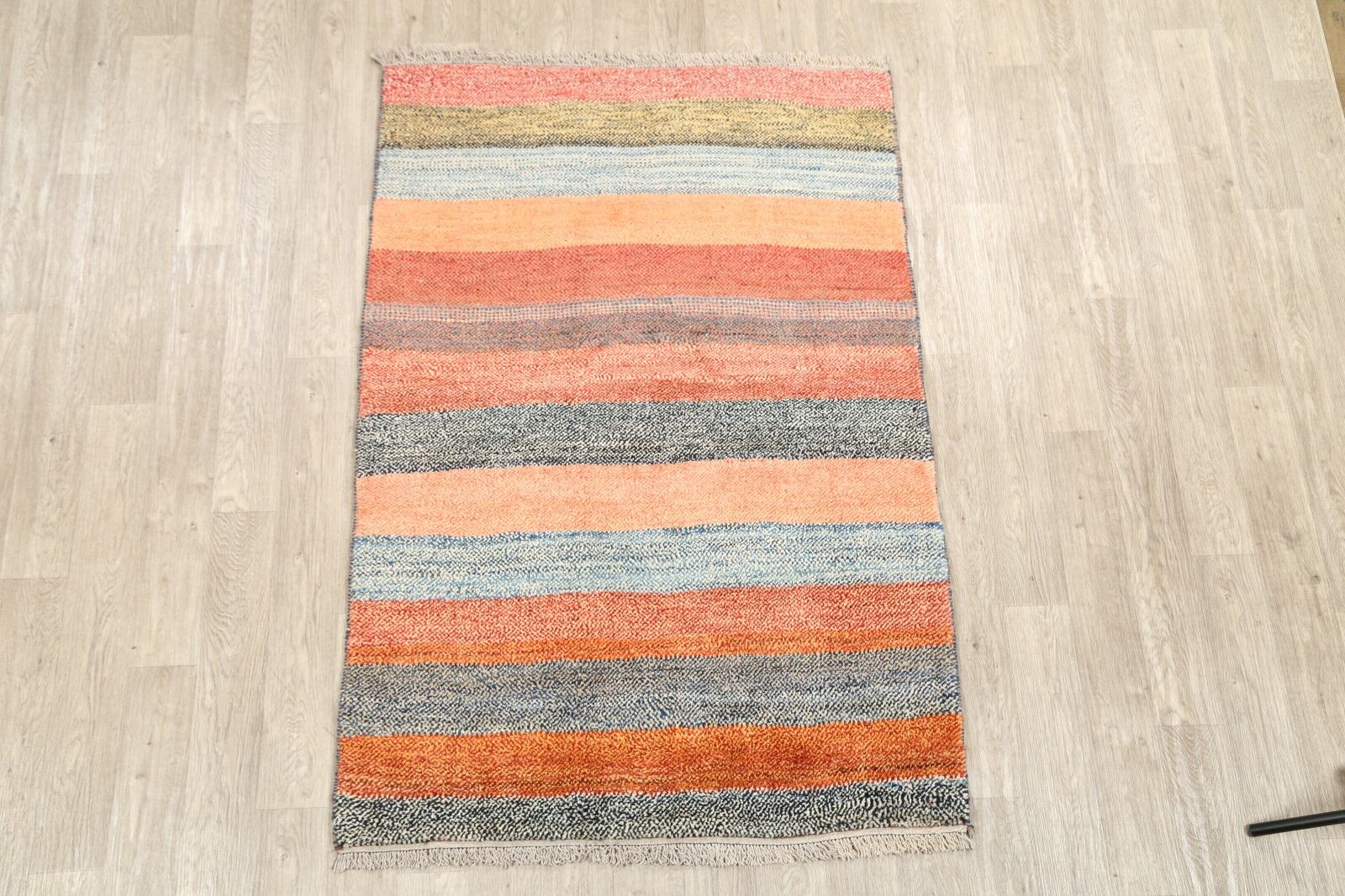 One-of-a-Kind Gabbeh Shiraz Persian Modern Hand-Knotted 4'2