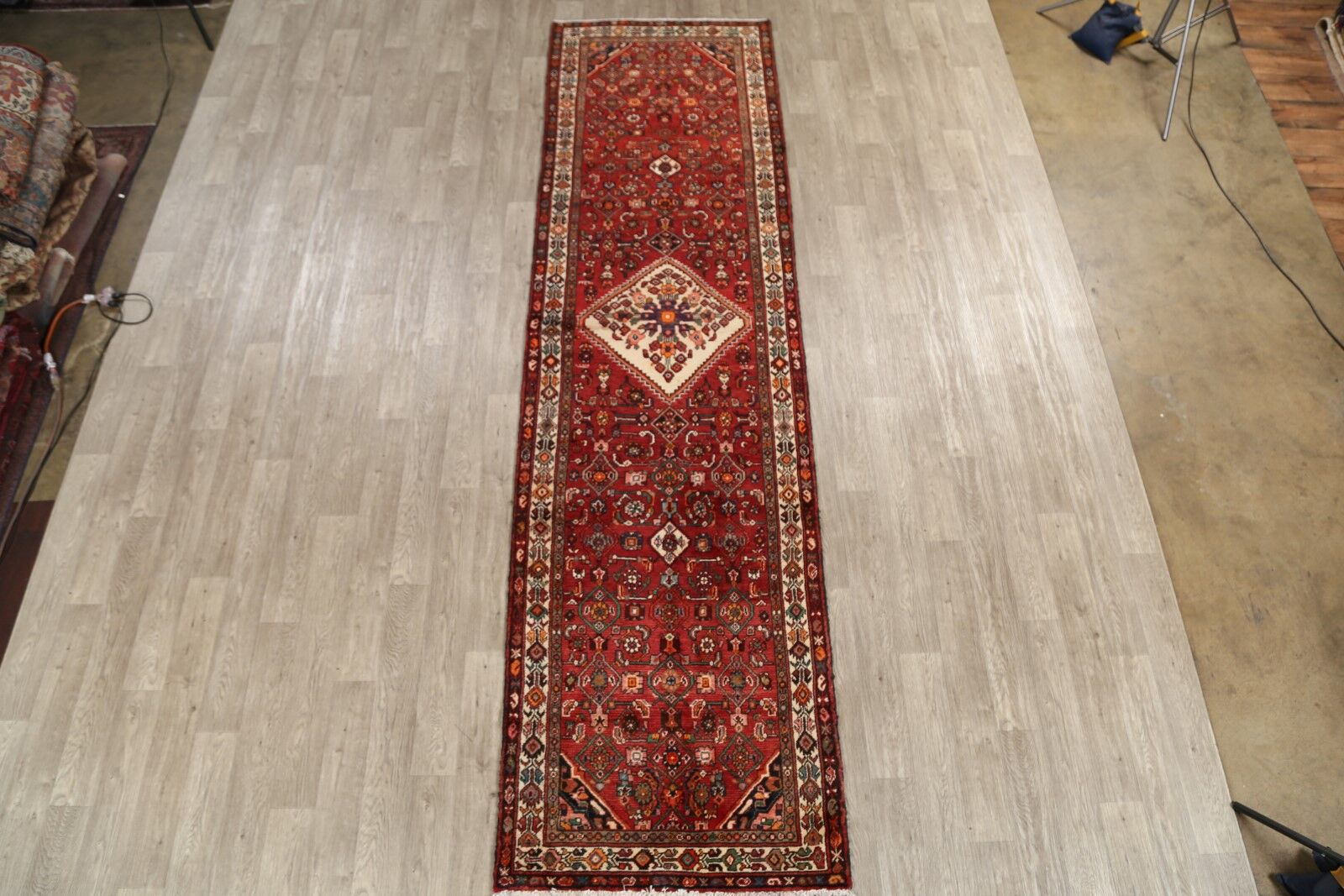 One-of-a-Kind Oubre Hamedan Vintage Persian Geometric Hand-Knotted 3'7