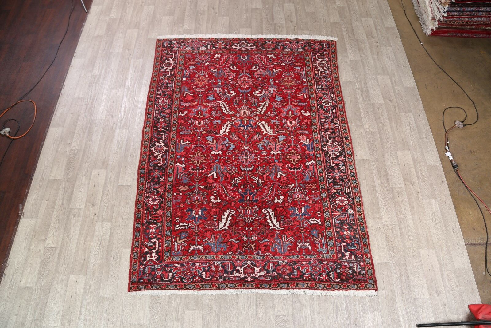 One-of-a-Kind Heriz Vintage Persian Hand-Knotted 6'11