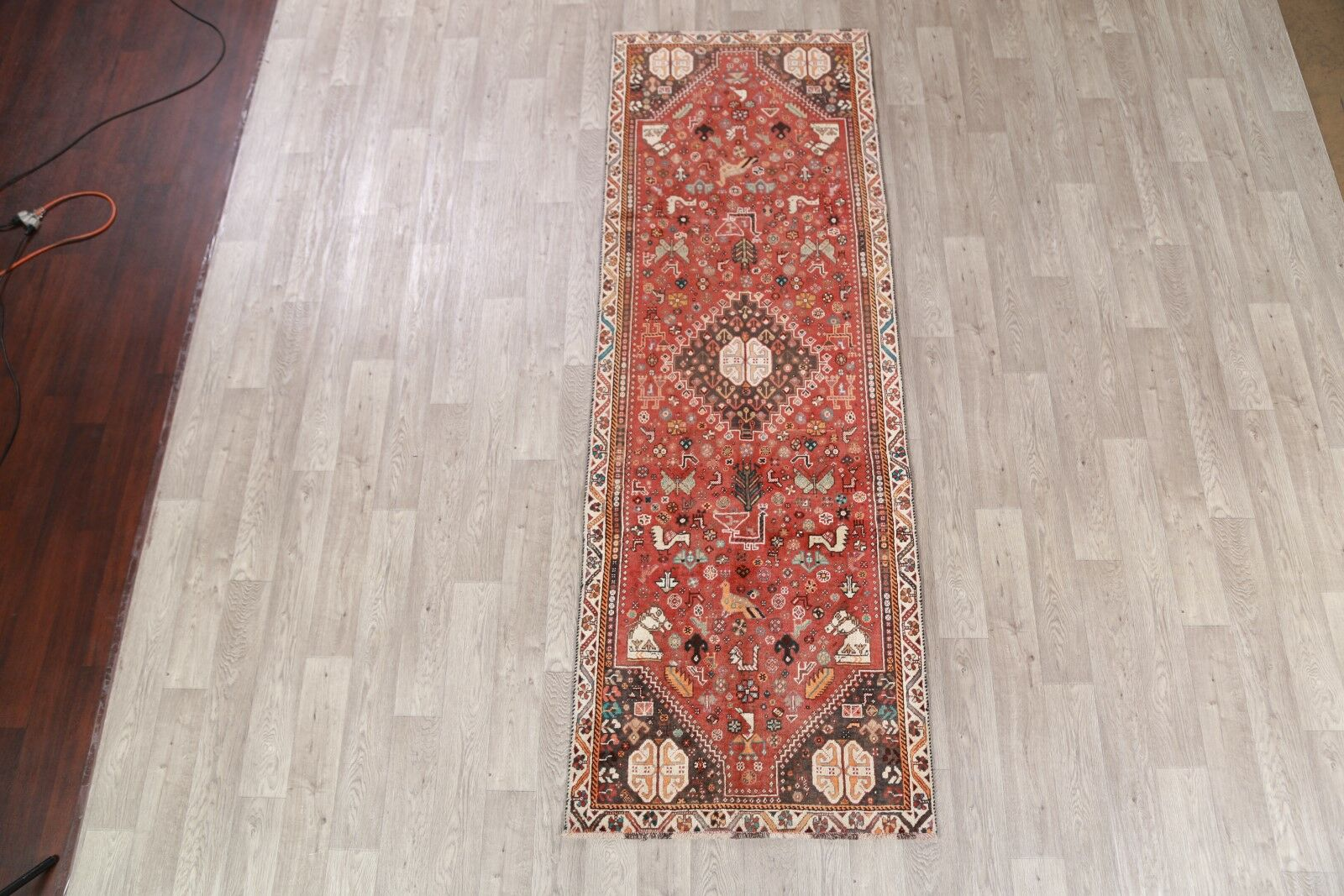 One-of-a-Kind Abadeh Persian Geometric Hand-Knotted 3'3