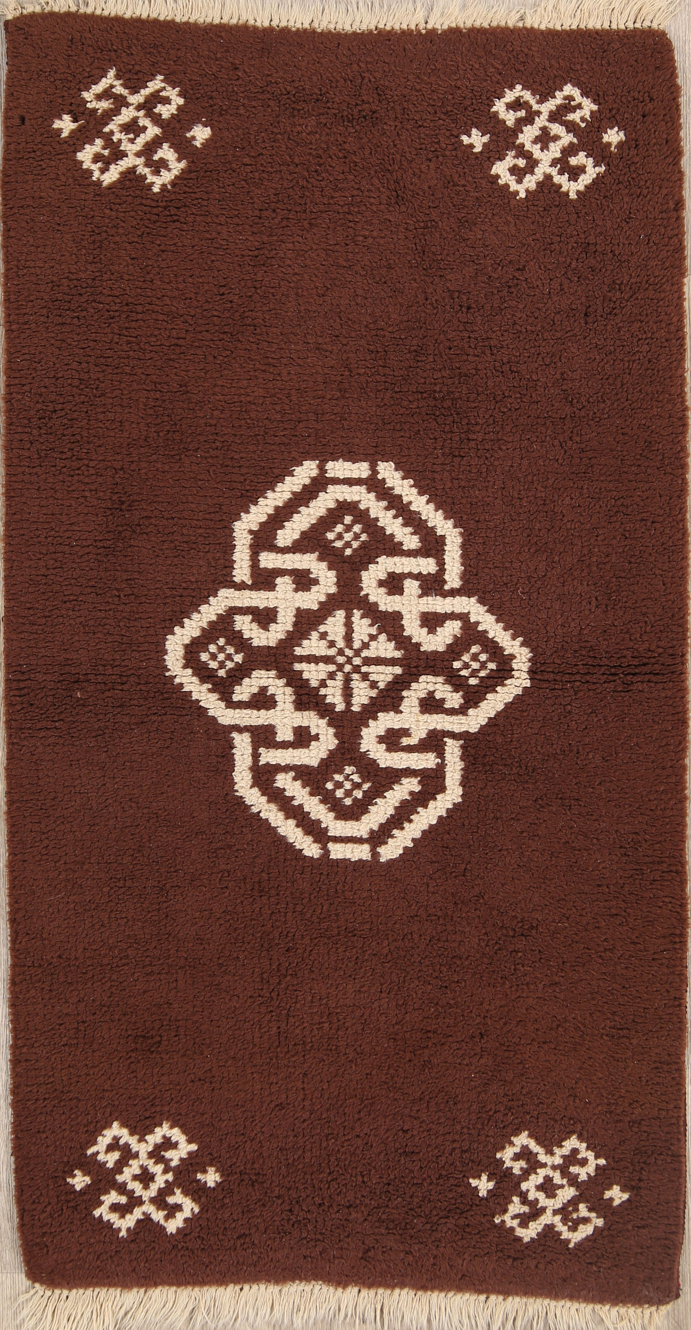 Jamerson Rya Oriental Hand-Knotted Wool Brown/White Area Rug