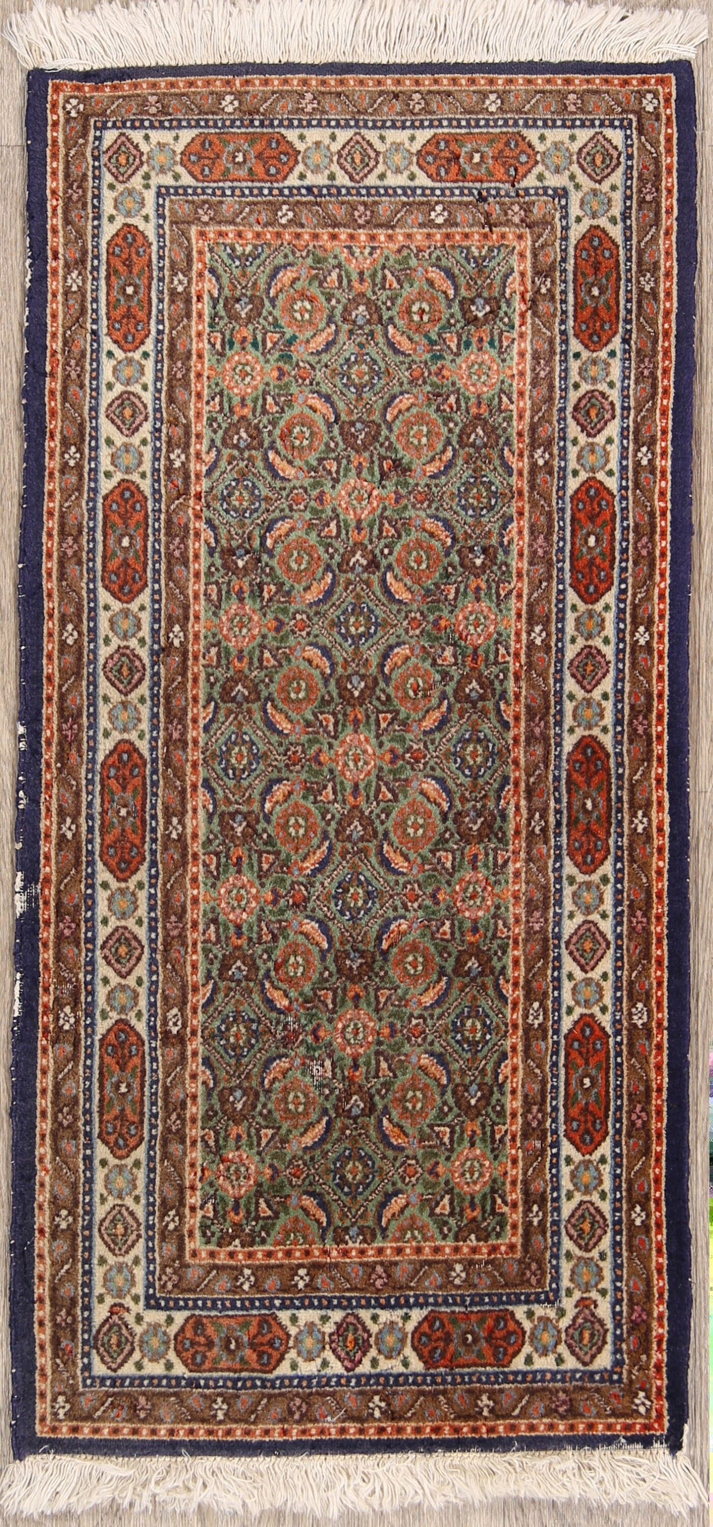 One-of-a-Kind Geometric Medallion Mood Vintage Persian Hand-Knotted 1'8