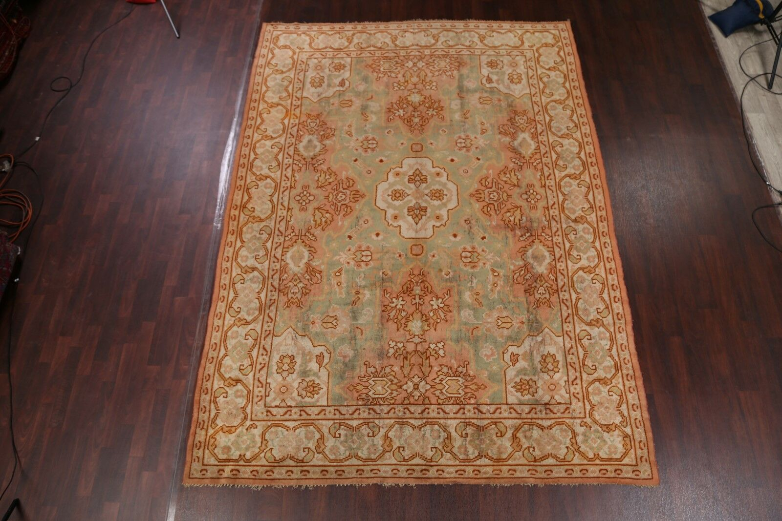 One-of-a-Kind Schnell Turkish Oriental Hand-Knotted Wool Green Area Rug