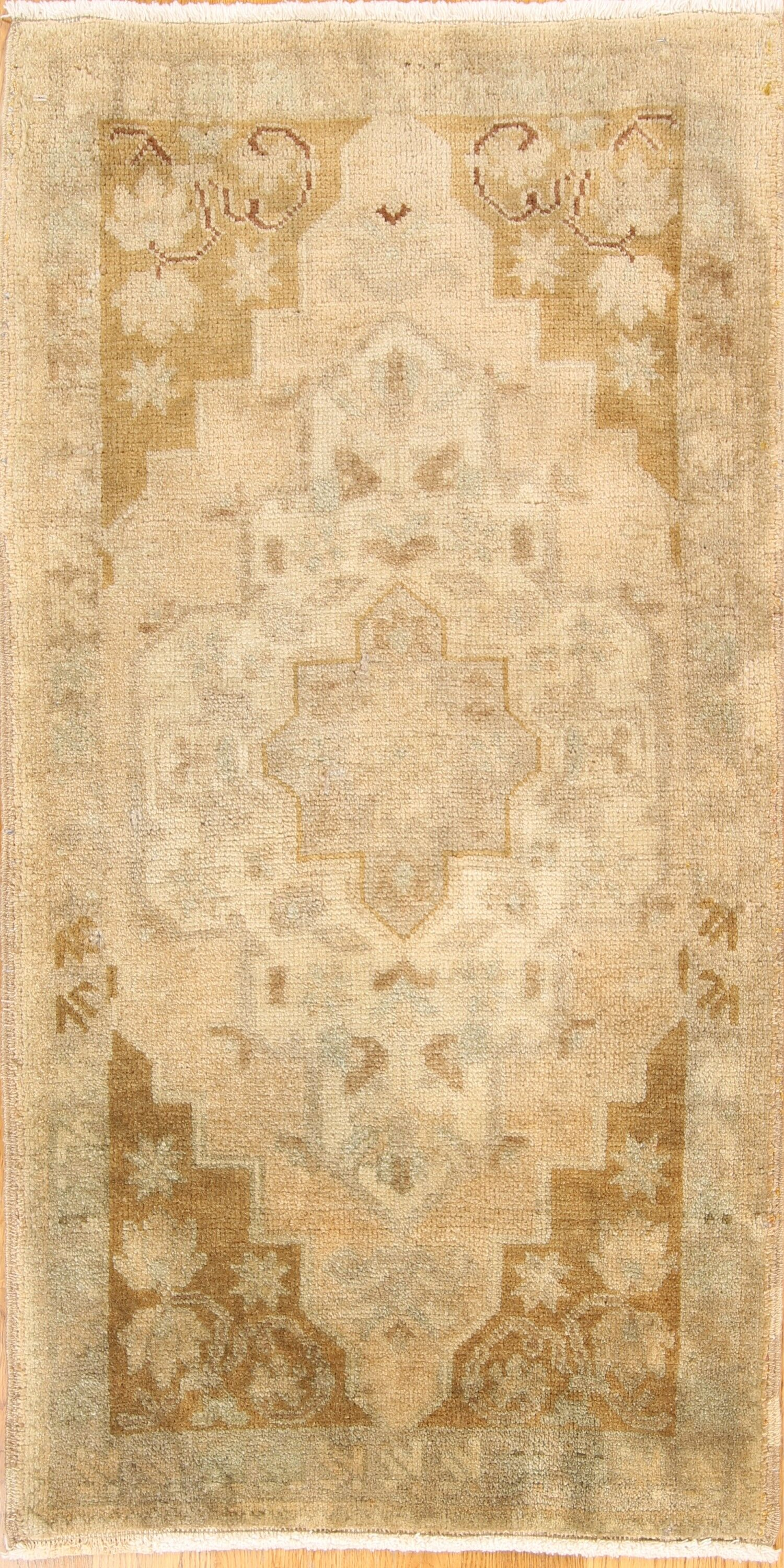 One-of-a-Kind Myrtle Avenue Oushak Turkish Oriental Hand-Knotted Wool Yellow/Gold Area Rug