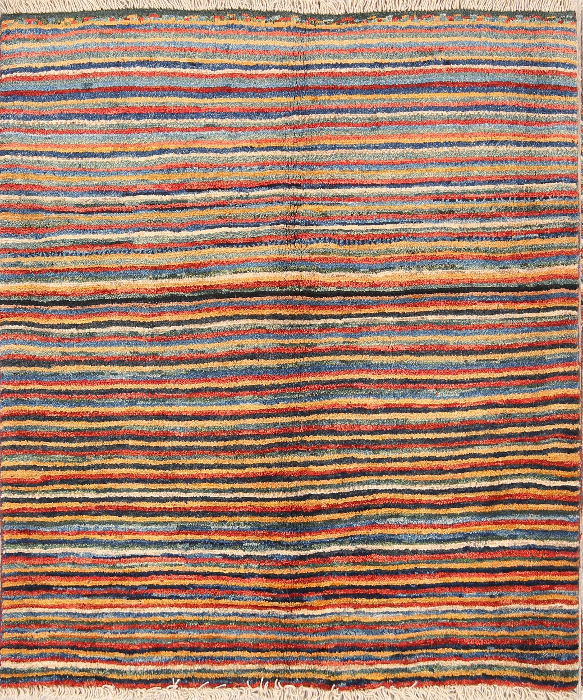 One-of-a-Kind Shiraz Gabbeh Persian Traditional Hand-Knotted 3'11