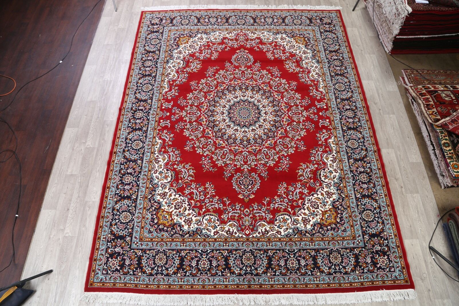 Traditional Mashad Classical Persian Blue/Burgundy/Beige Area Rug