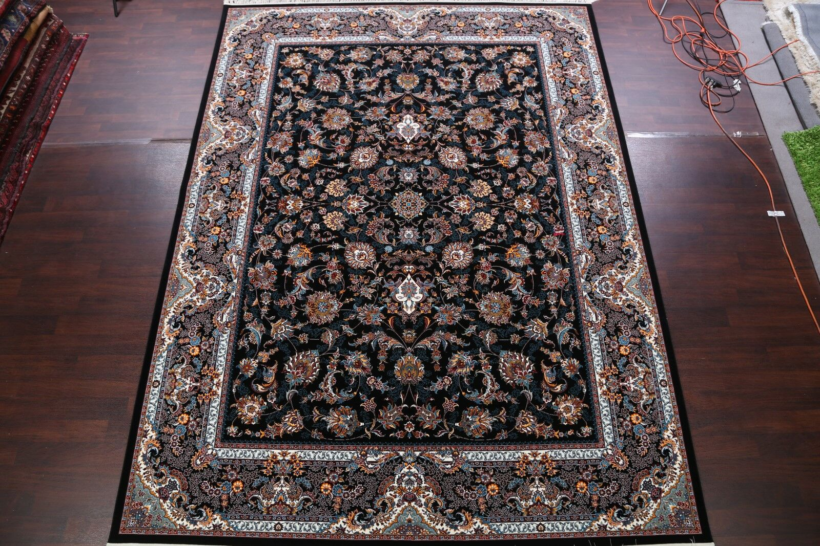 Geometric Tabriz Qum Persian Traditional Black/Blue Area Rug Rug Size: Rectangle 9'11