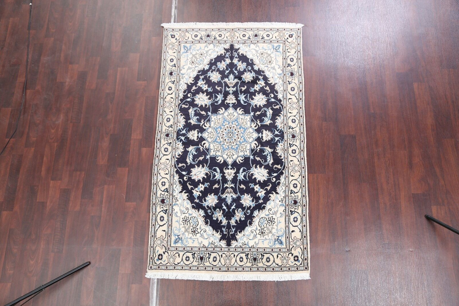 One-of-a-Kind Melida Traditional Floral Nain Isfahan Persian Hand-Knotted 3'9