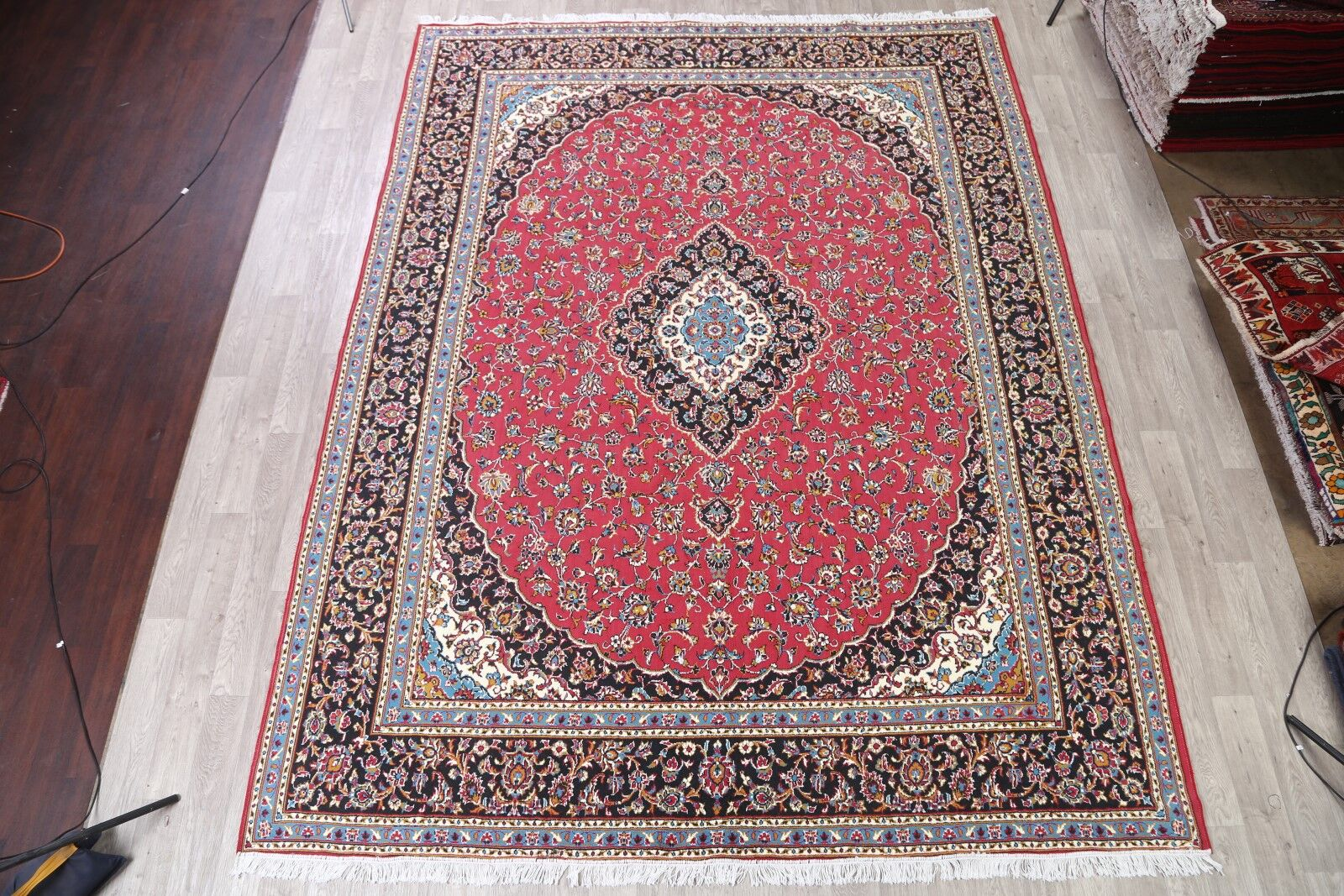 Classical Soft Plush Kashan Persian Red/Ivory/Black Area Rug
