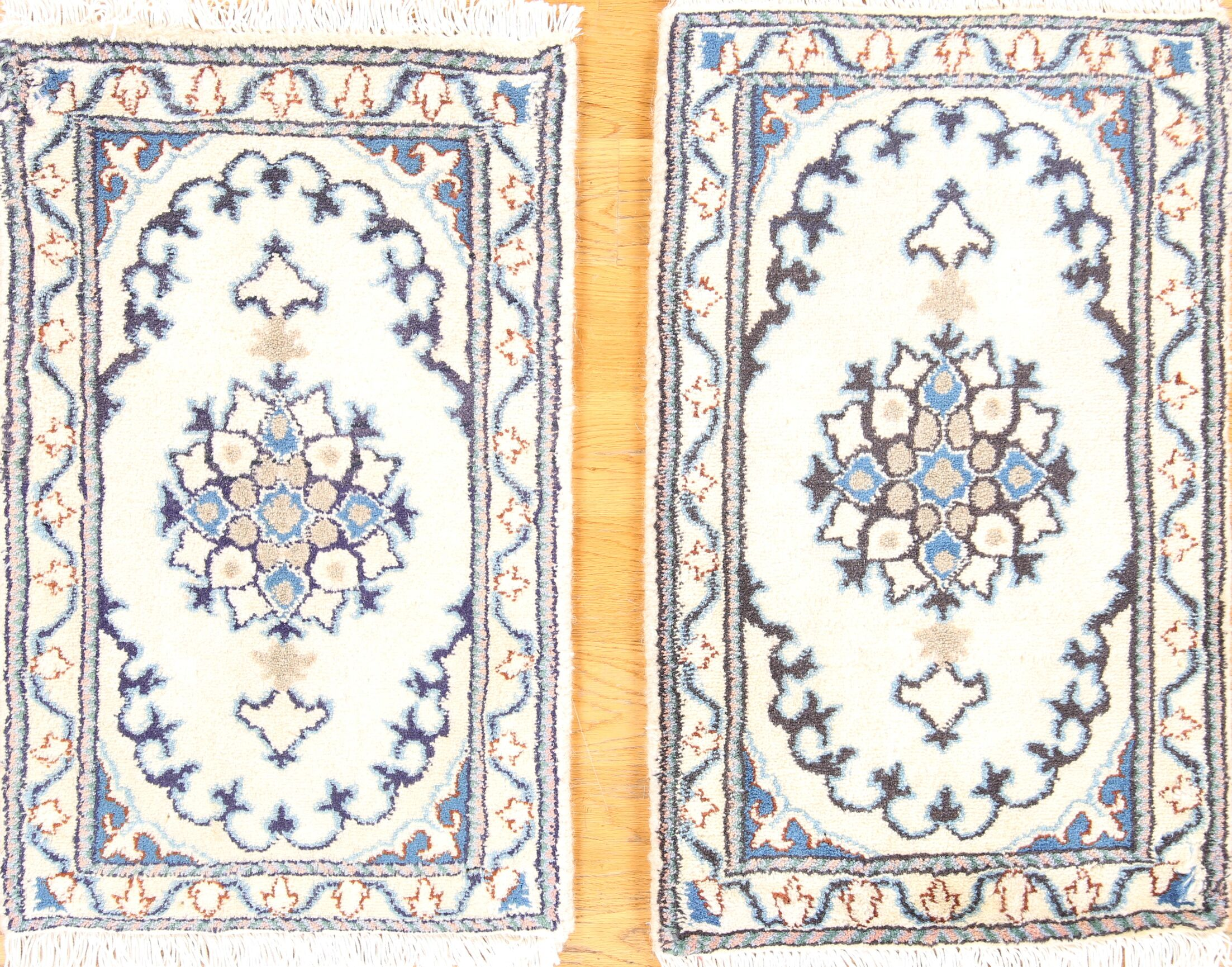 One-of-a-Kind Classical Pair of Nain Isfahan Persian Hand-Knotted 1'3