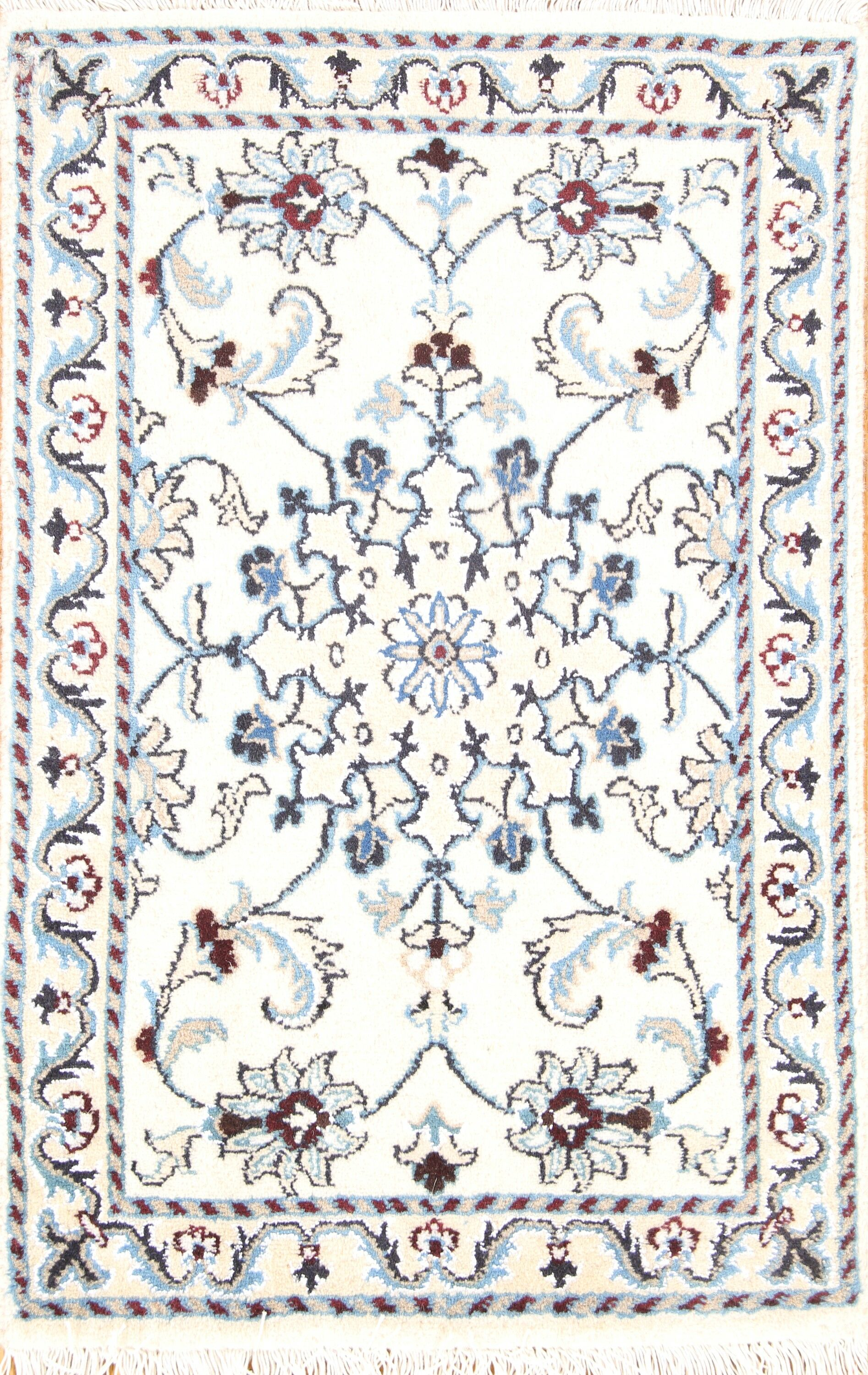 One-of-a-Kind Nain Isfahan Persian Hand-Knotted 1'10