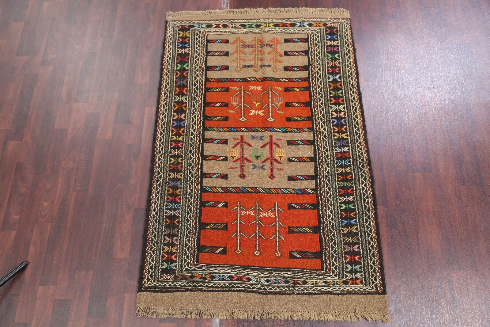 One-of-a-Kind Classical Kilim Shiraz Persian Hand-Knotted 3'9