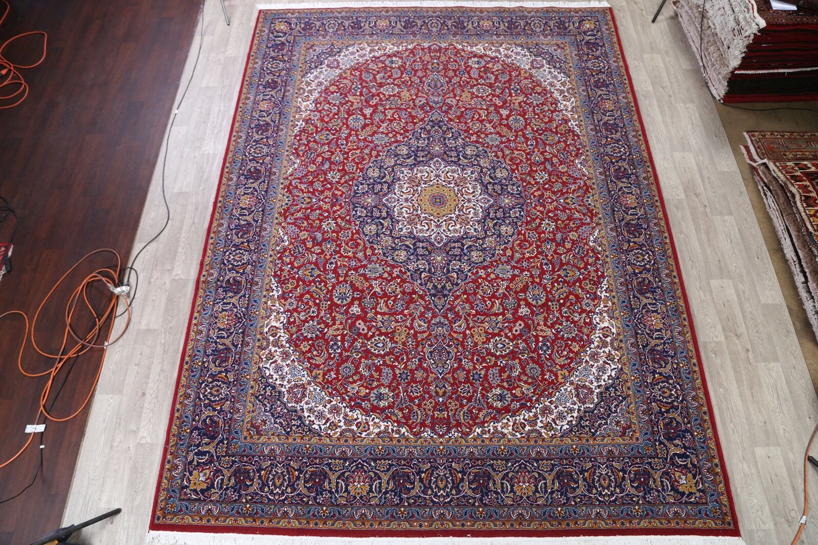 Floral Plush Traditional Isfahan Persian Red/Ivory/Blue Area Rug