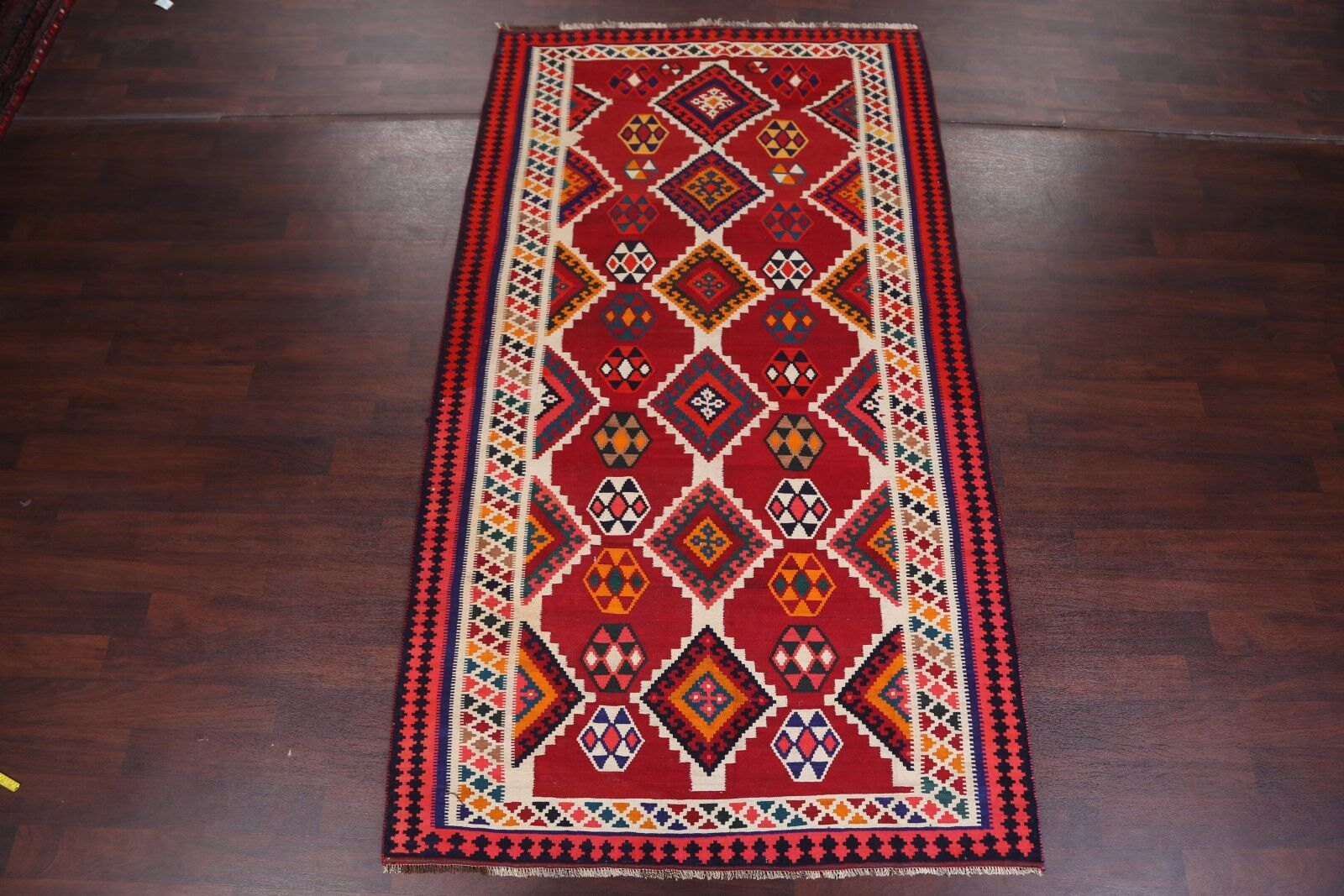 One-of-a-Kind Kilim Ghashghaei Persian Traditional Hand-Knotted 5'6