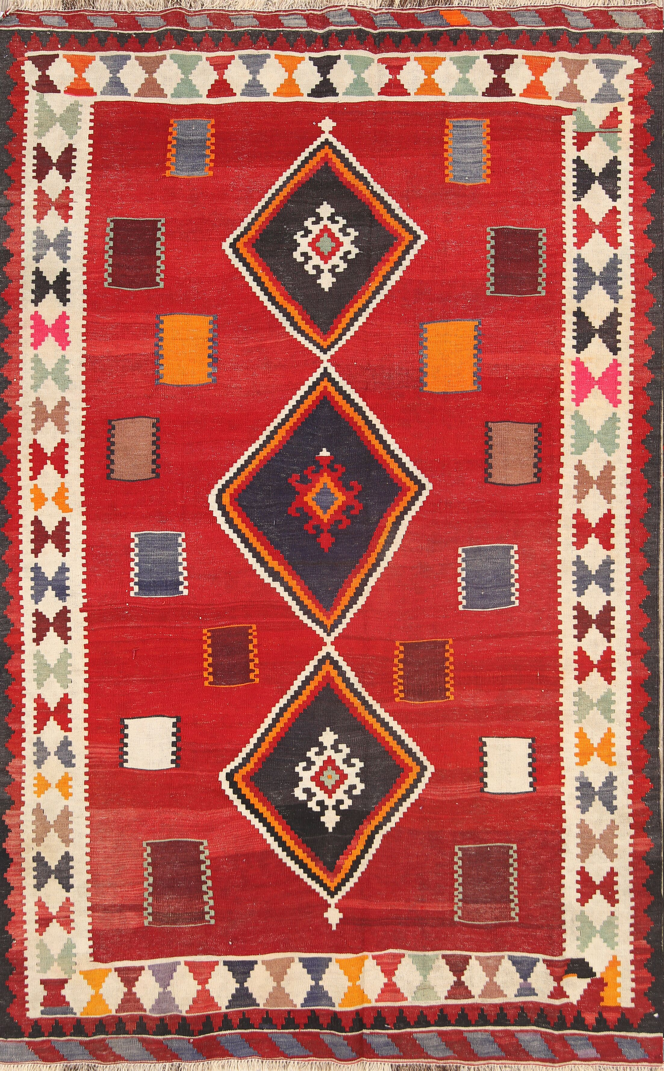 One-of-a-Kind Kilim Qashqai Shiraz Vintage Persian Traditional Hand-Knotted 5'2