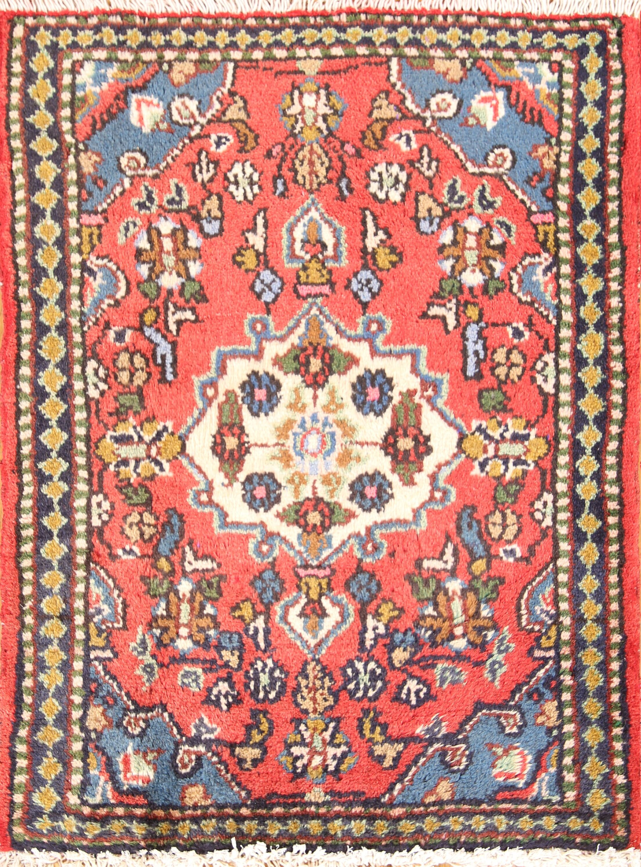 One-of-a-Kind Hamedan Vintage Persian Traditional Hand-Knotted 1'10
